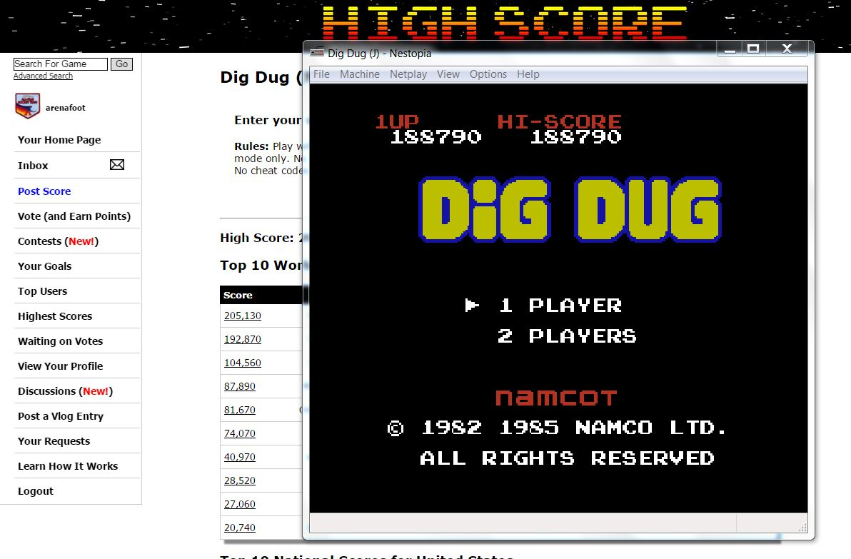 arenafoot: Dig Dug (NES/Famicom Emulated) 188,790 points on 2016-03-22 07:01:38