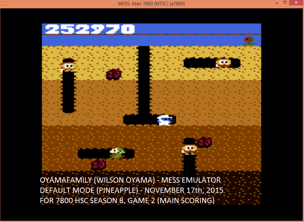 oyamafamily: Dig Dug: Pineapple (Atari 7800 Emulated) 252,970 points on 2015-12-10 14:57:25