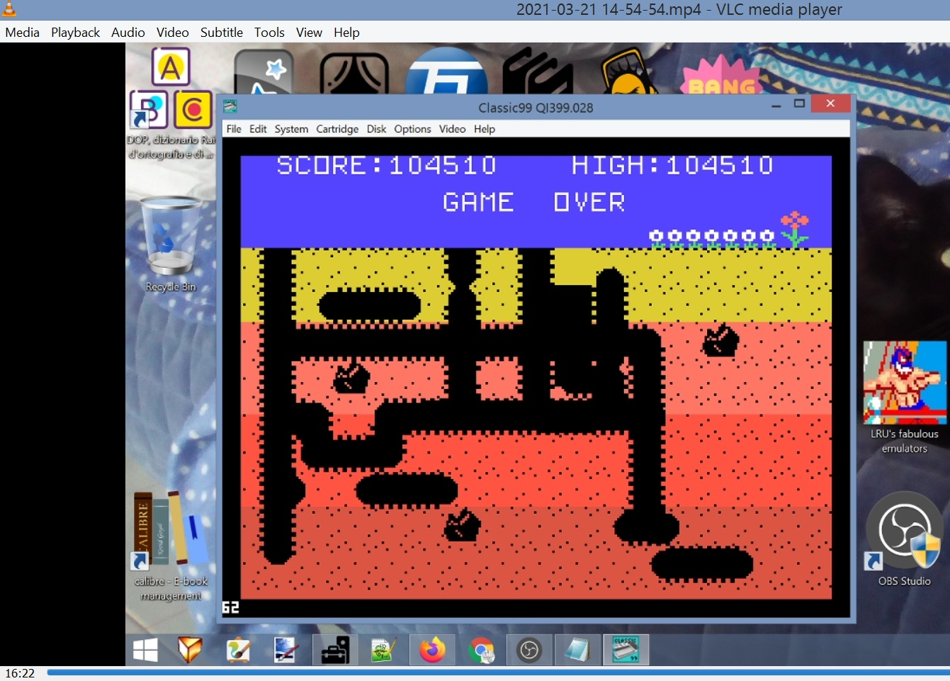 LuigiRuffolo: Dig Dug (TI 99/4A Emulated) 104,510 points on 2021-03-21 10:17:20