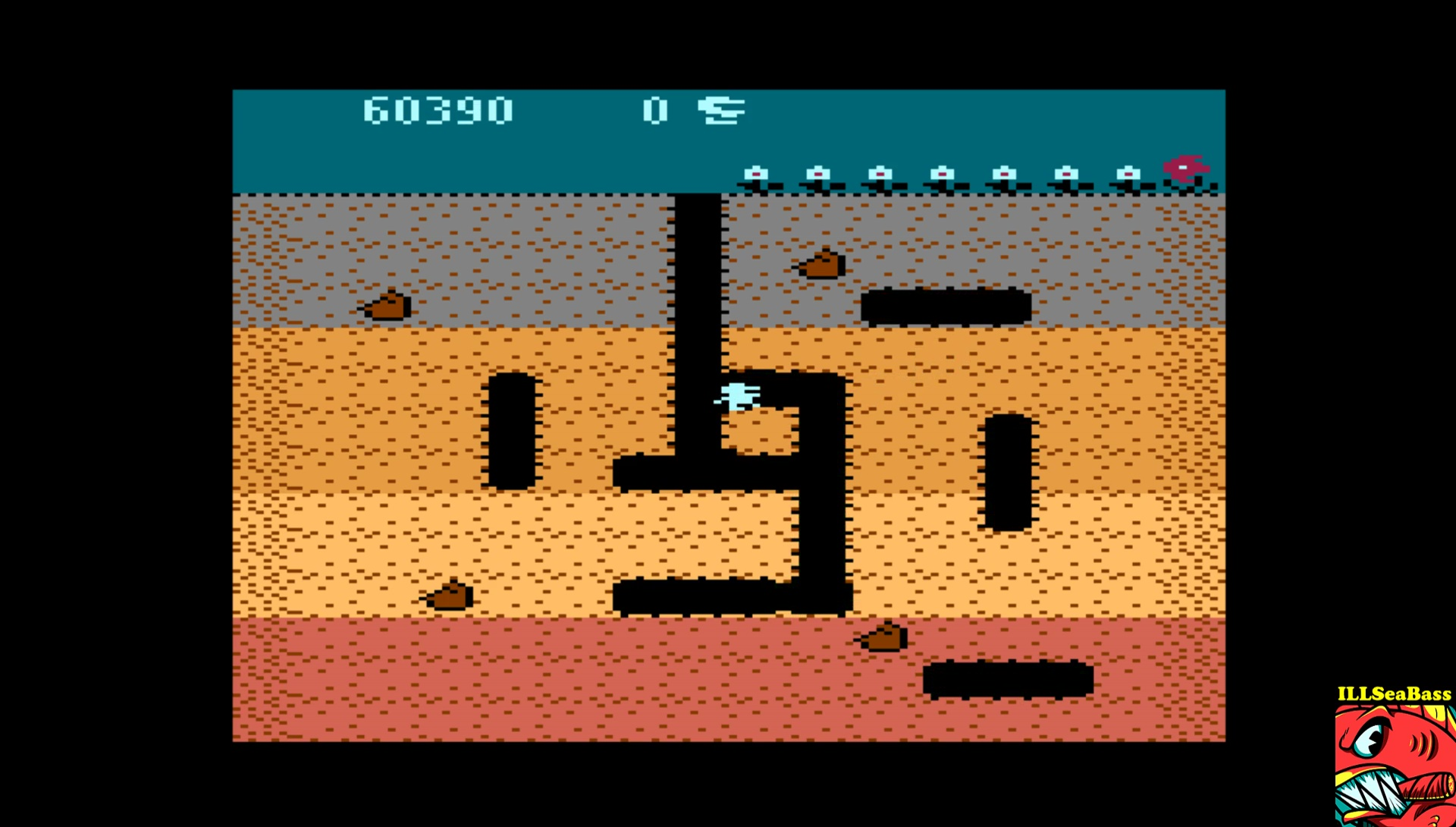 ILLSeaBass: Dig Dug [Turnip Start] (Atari 400/800/XL/XE Emulated) 60,390 points on 2017-06-18 22:53:09