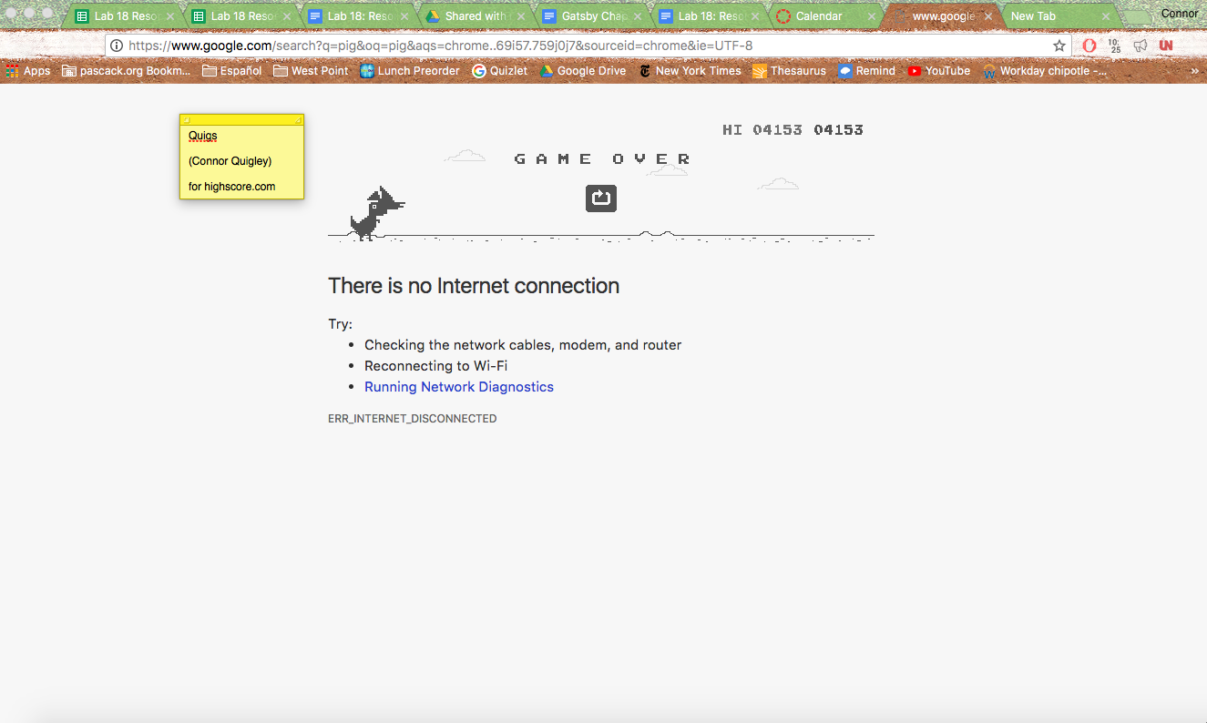 Dino Run [Google Chrome Offline] (Web) high score by quigs