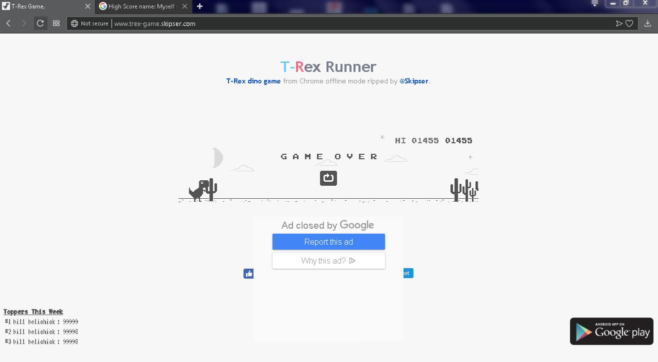 Dino Run [Google Chrome Offline] (Web) high score by Myself