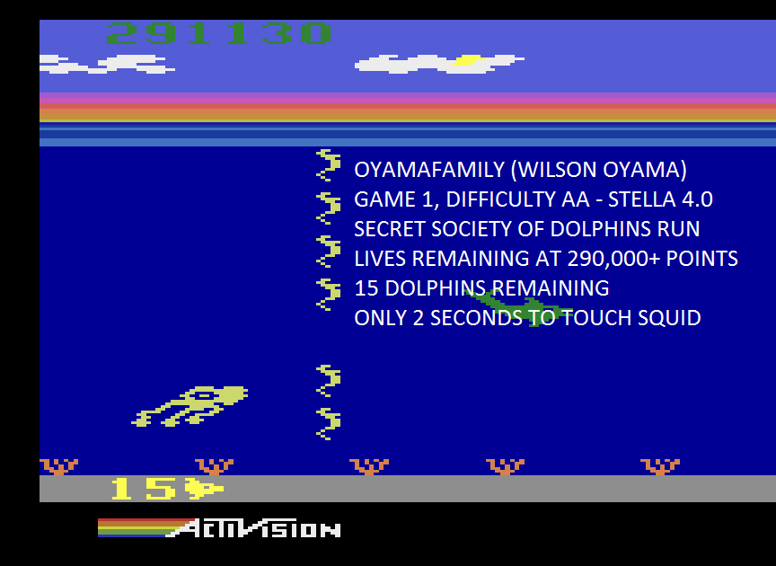 oyamafamily: Dolphin: Game 1 [Lives Remaining at 290,000+ points] (Atari 2600 Emulated Expert/A Mode) 15 points on 2015-08-22 19:29:32