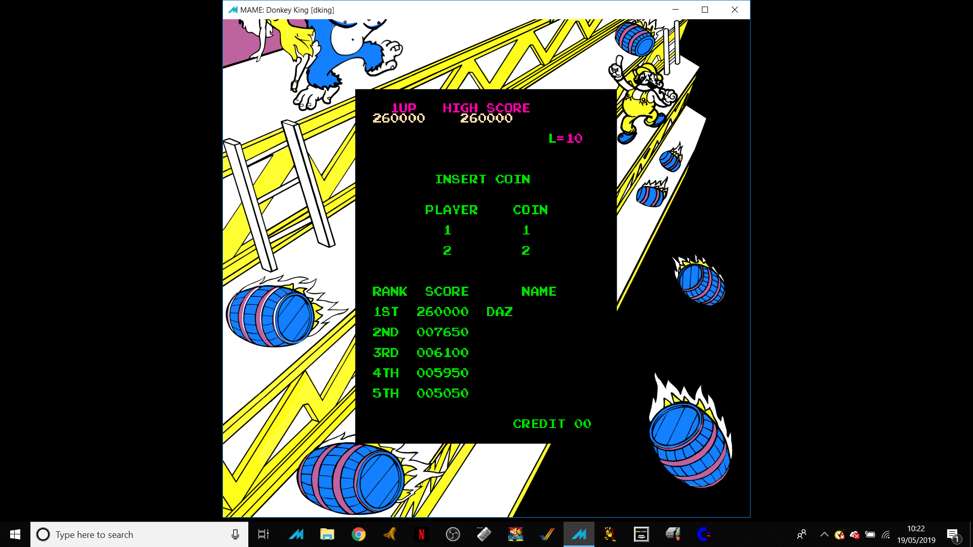 Ivanstorm1973: Donkey King [dking] (Arcade Emulated / M.A.M.E.) 260,000 points on 2019-05-19 06:14:08