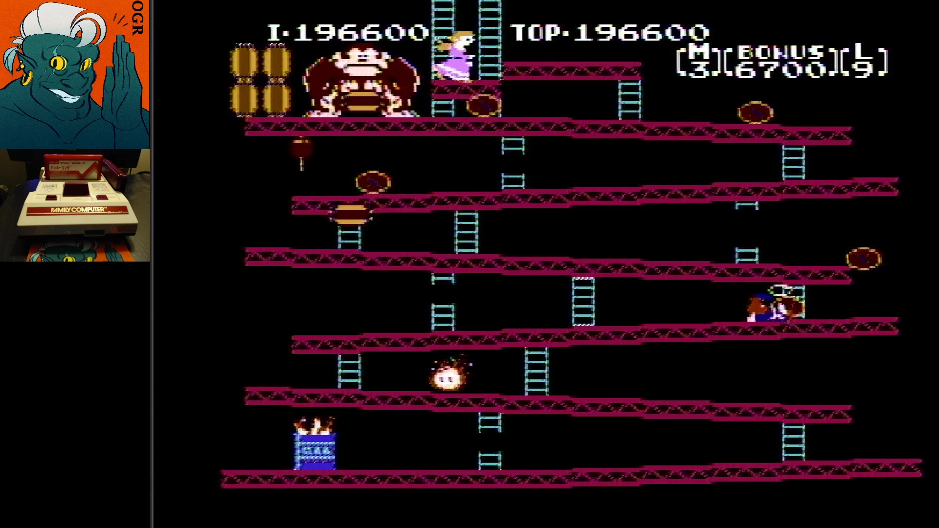 AwesomeOgre: Donkey Kong [1 Life] (NES/Famicom) 196,600 points on 2020-02-25 19:01:14