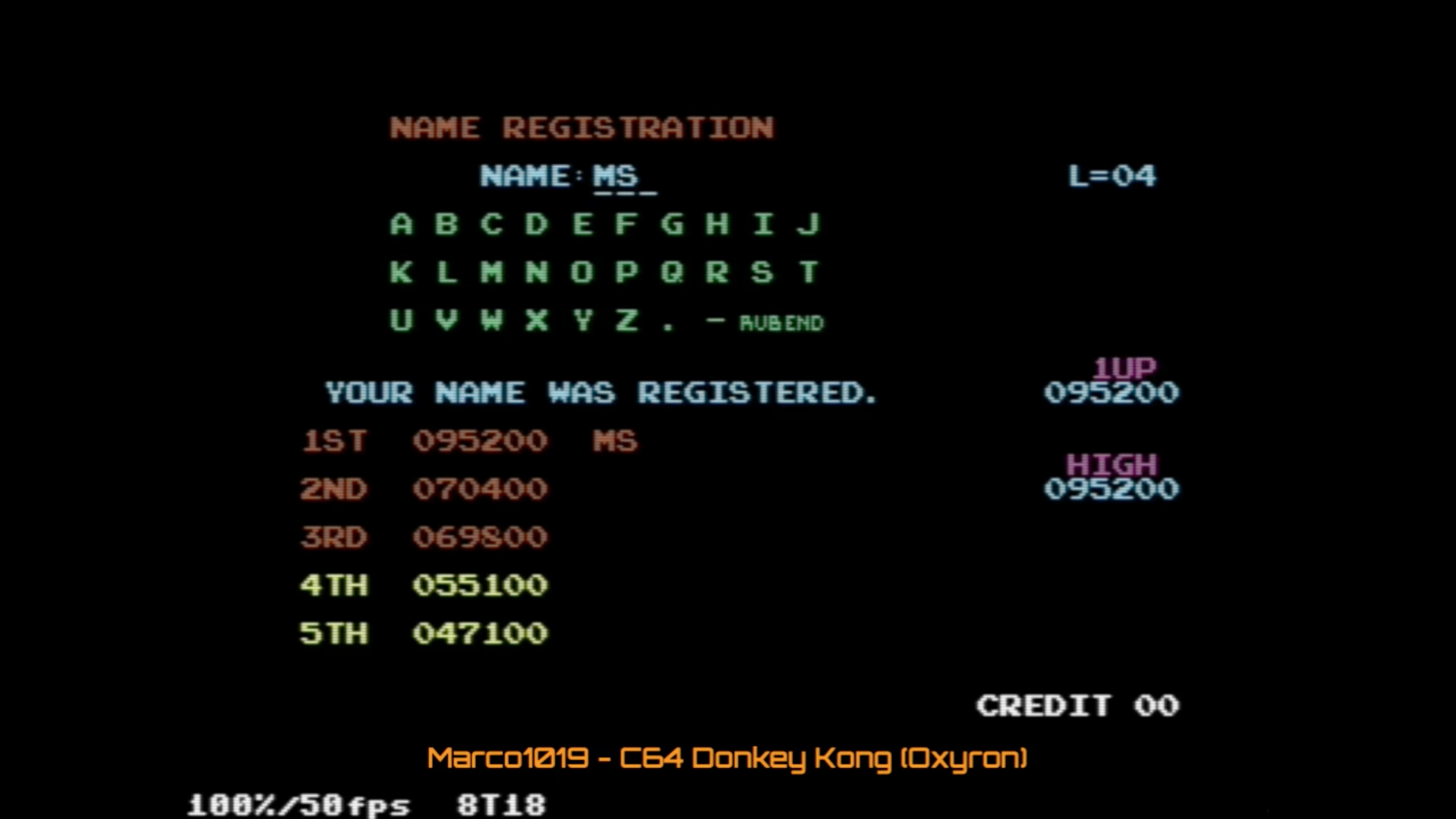 Marco1019: Donkey Kong 2016 (Commodore 64 Emulated) 95,200 points on 2020-10-17 13:36:06