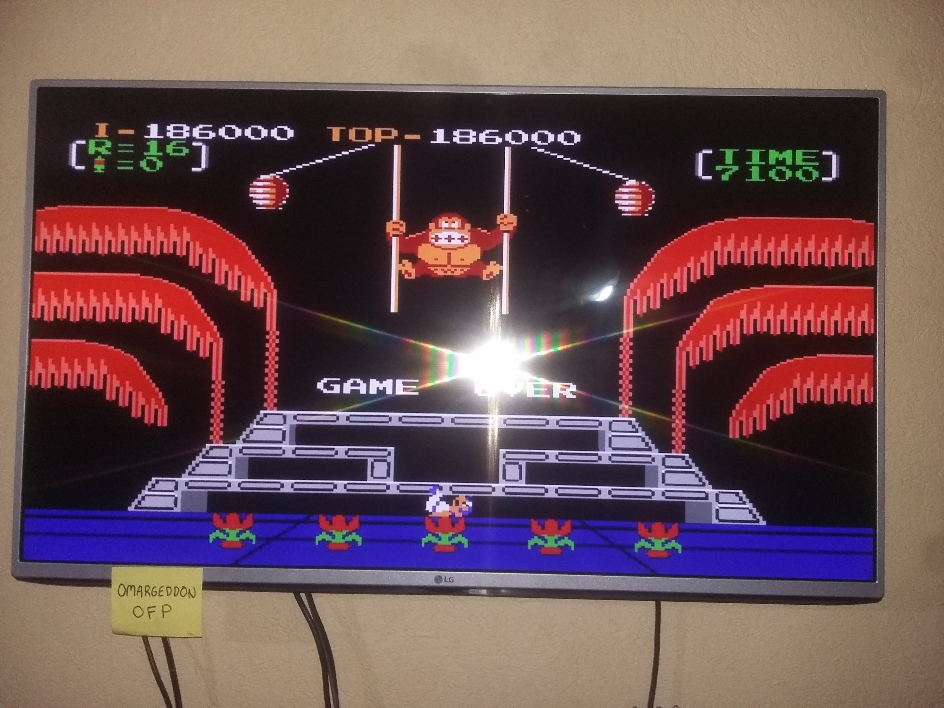 Donkey Kong 3: Game A 186,000 points