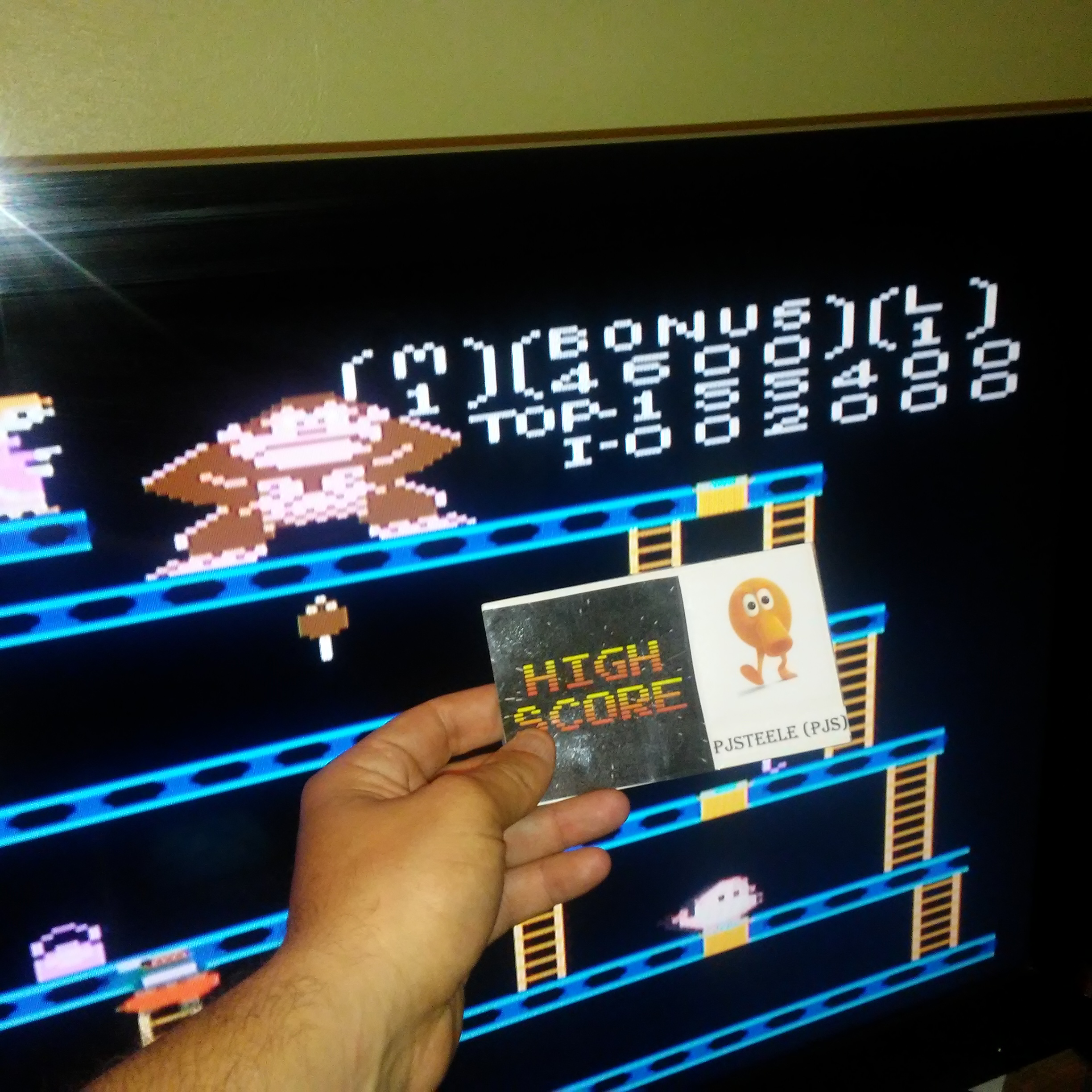 Pjsteele: Donkey Kong: Advanced (Atari 7800 Emulated) 155,400 points on 2017-04-20 09:49:19