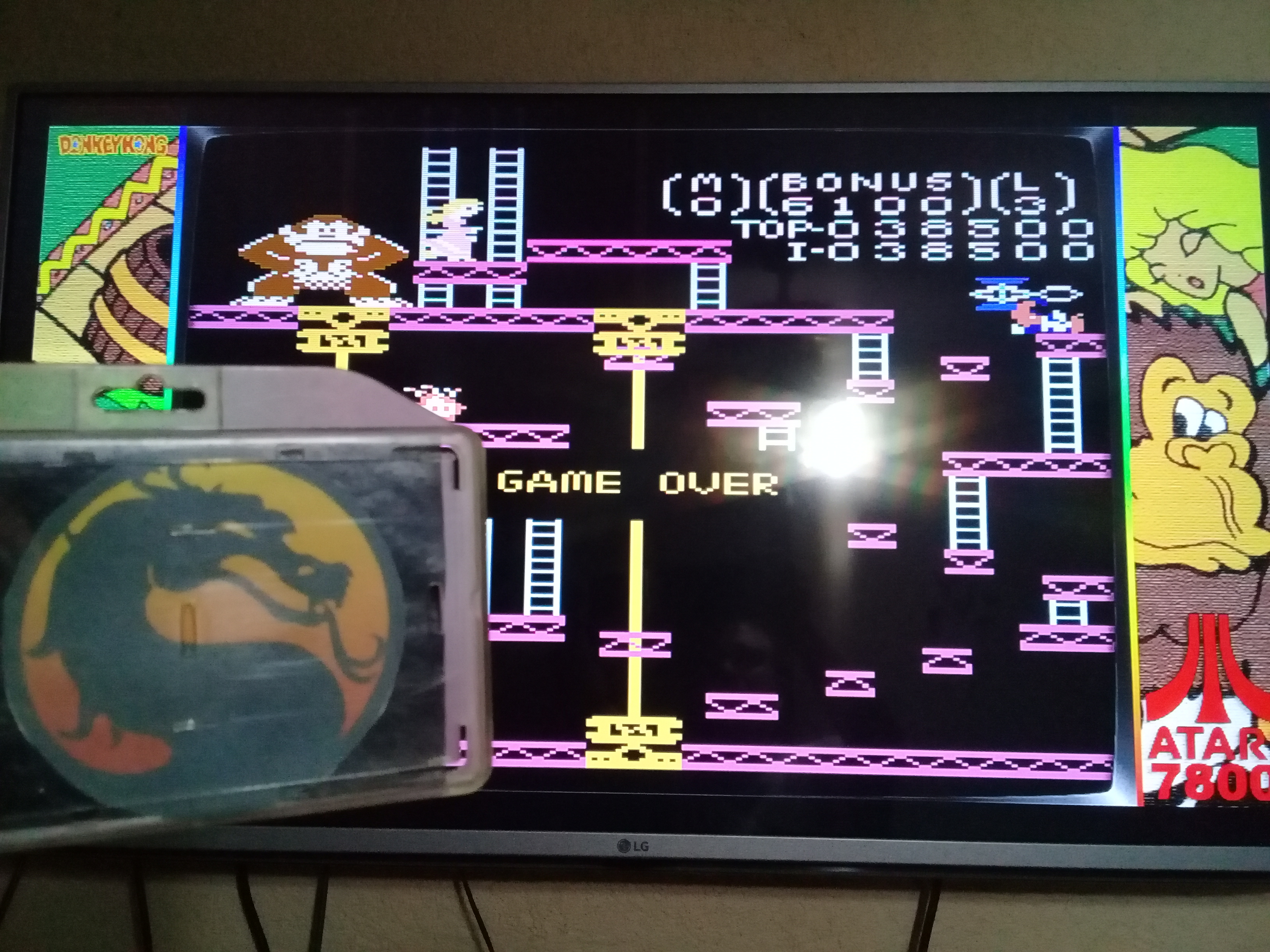 omargeddon: Donkey Kong: Advanced (Atari 7800 Emulated) 38,500 points on 2020-06-20 19:57:33