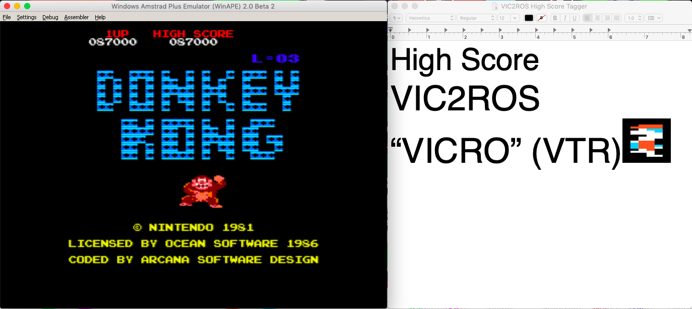 vic2ros: Donkey Kong (Amstrad CPC Emulated) 87,000 points on 2020-06-20 19:31:54