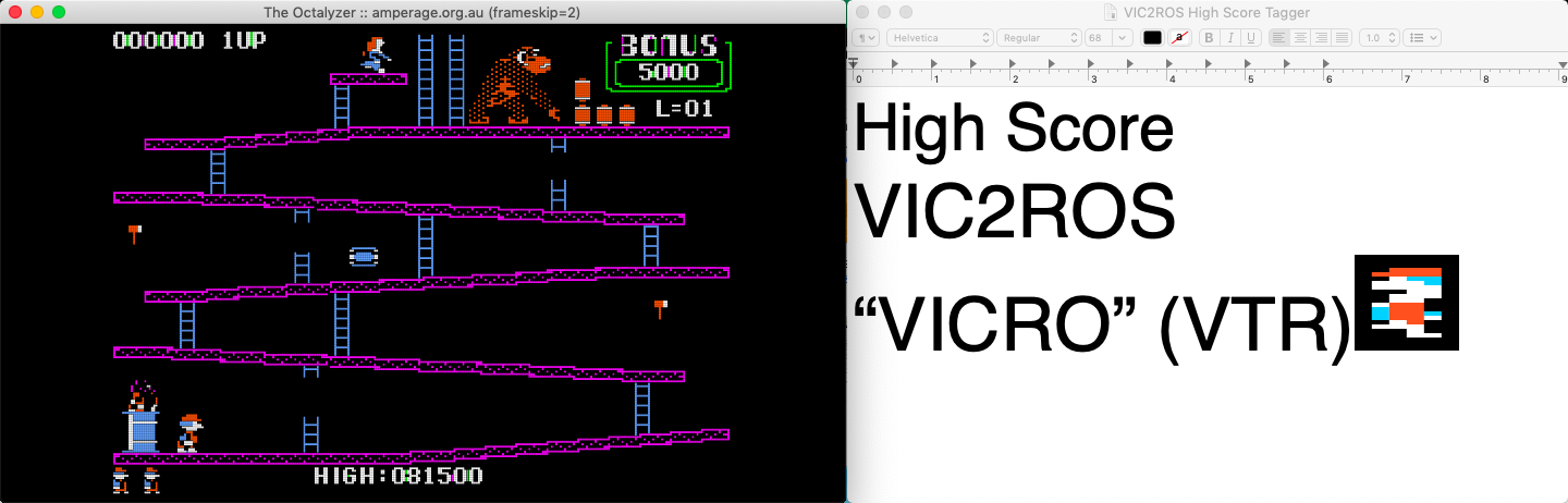 vic2ros: Donkey Kong (Apple II Emulated) 81,500 points on 2020-05-25 17:54:27