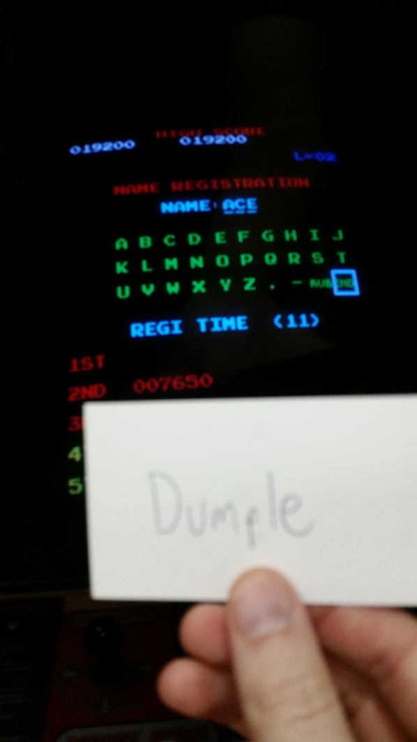 Dumple: Donkey Kong (Arcade) 19,200 points on 2016-10-30 20:45:18