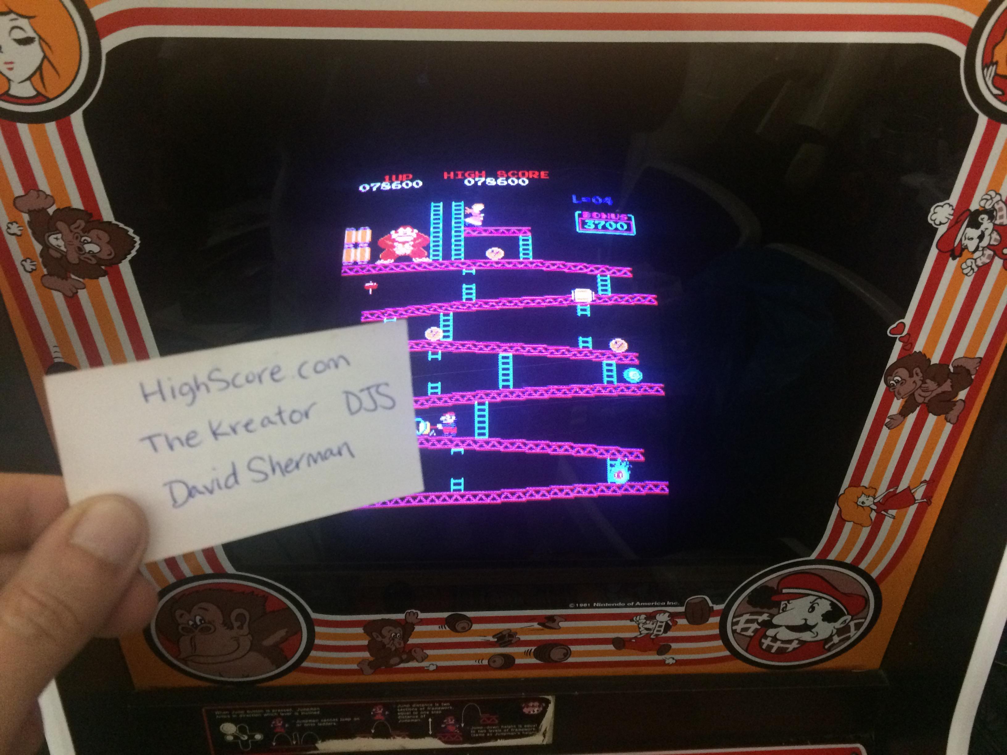 thekreator: Donkey Kong (Arcade) 78,600 points on 2017-06-10 04:39:34