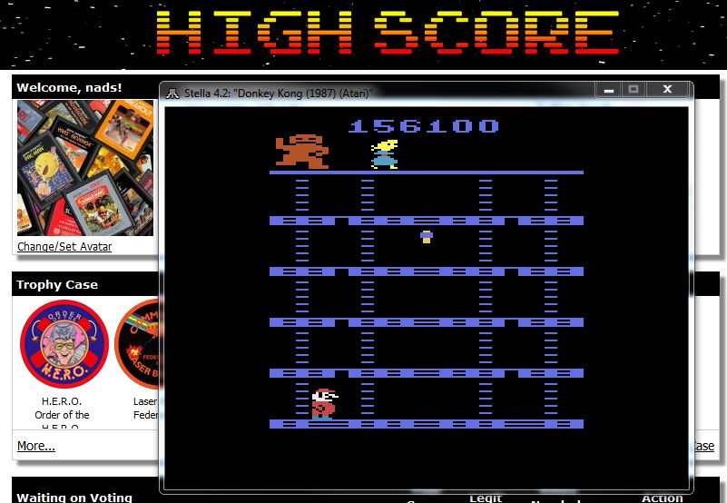 nads: Donkey Kong (Atari 2600 Emulated Expert/A Mode) 156,100 points on 2016-02-10 23:57:47