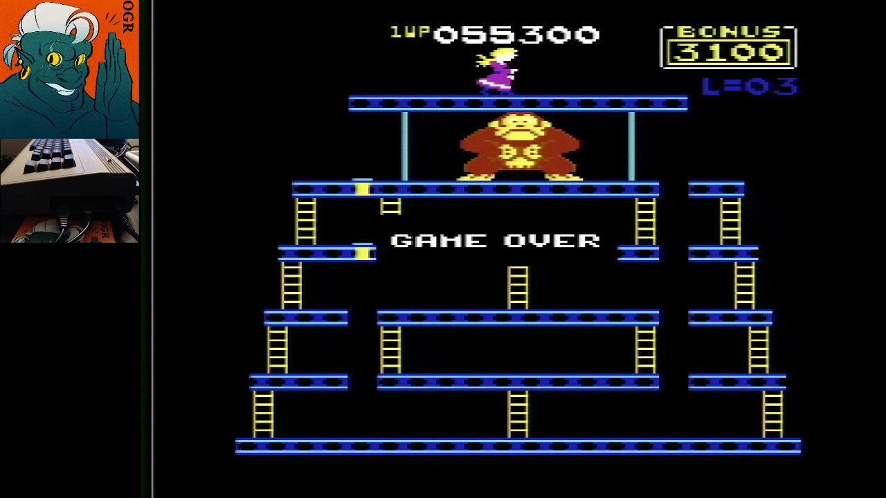 AwesomeOgre: Donkey Kong: Atarisoft (Commodore 64) 55,300 points on 2020-03-28 13:04:03