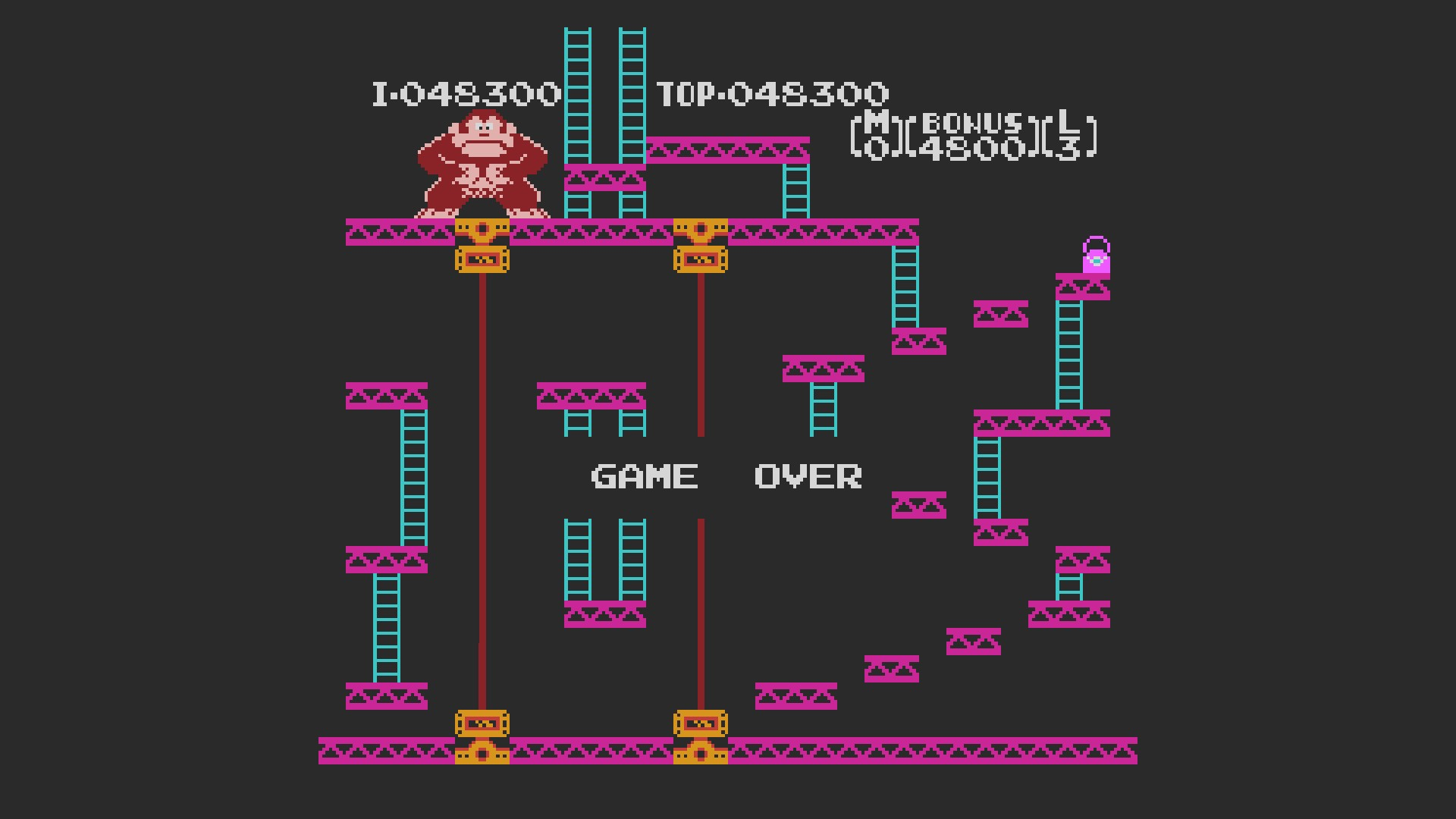 AkinNahtanoj: Donkey Kong Classics: Donkey Kong [Game A] (NES/Famicom Emulated) 48,300 points on 2020-10-06 15:14:01