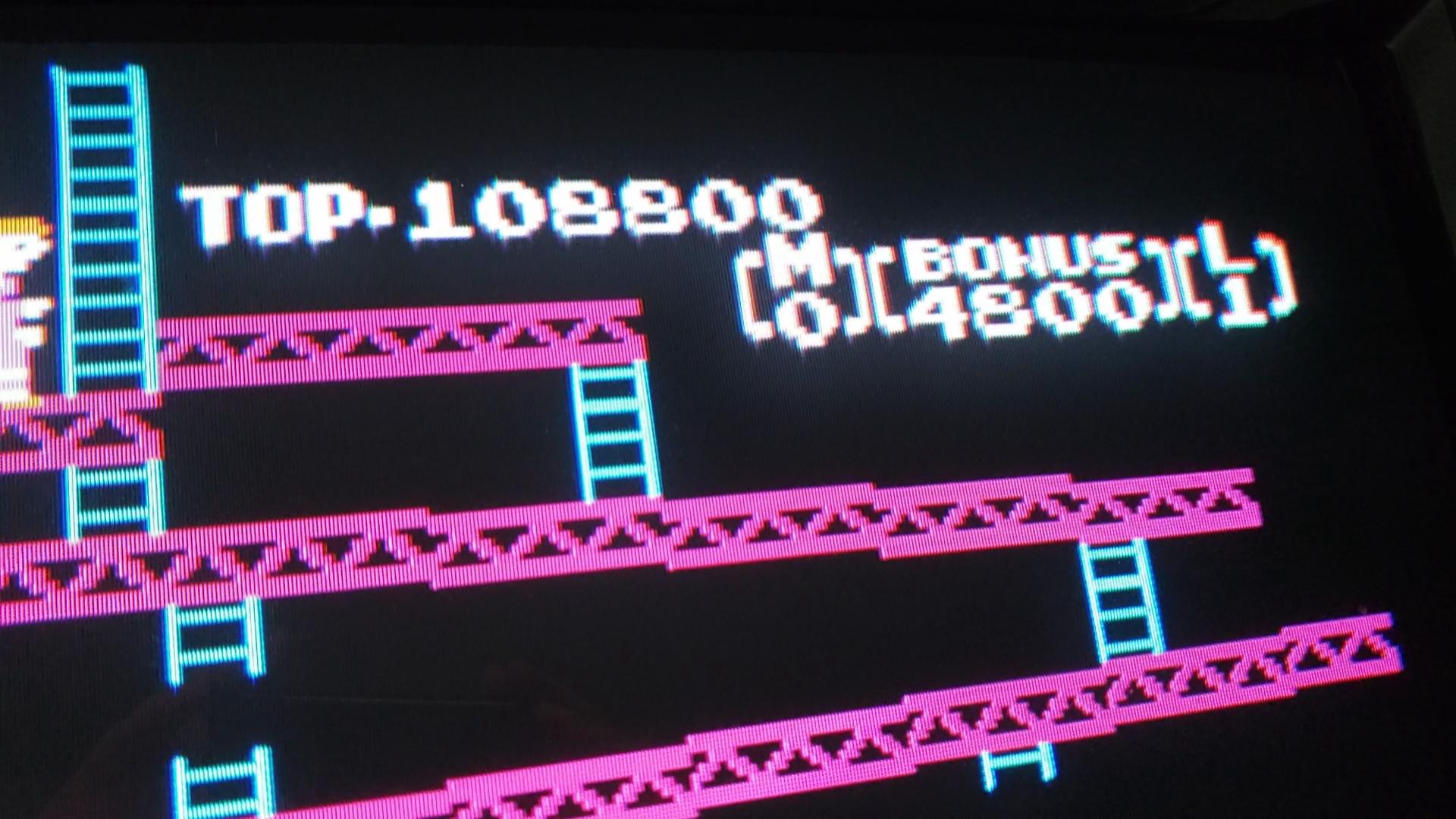 JES: Donkey Kong Classics: Donkey Kong [Game A] (NES/Famicom Emulated) 108,800 points on 2020-06-14 15:49:07