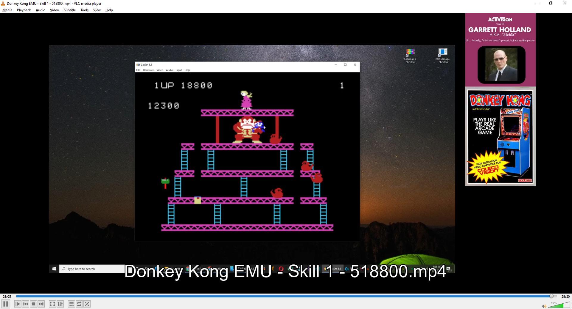 ZilchSr: Donkey Kong (Colecovision Emulated) 518,800 points on 2021-02-13 17:45:47