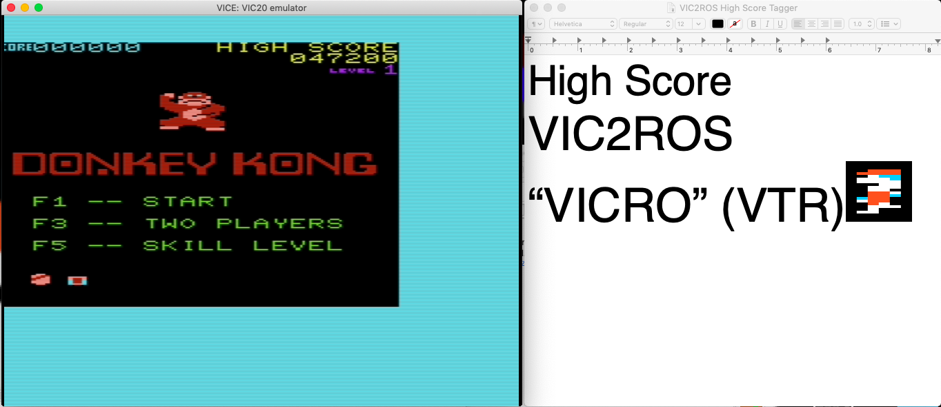 vic2ros: Donkey Kong (Commodore VIC-20 Emulated) 47,200 points on 2020-06-16 18:59:38