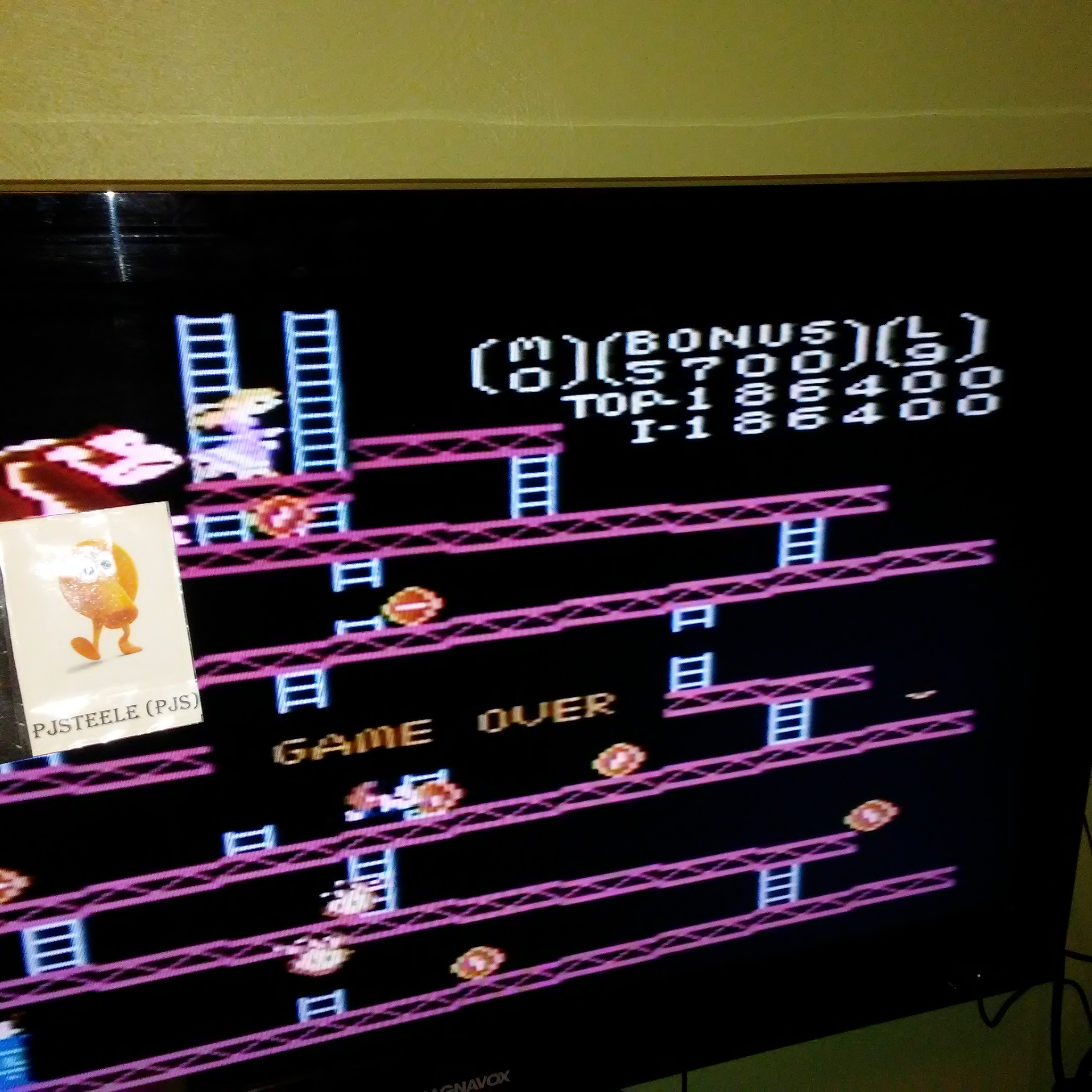 Pjsteele: Donkey Kong: Expert (Atari 7800) 186,400 points on 2018-01-09 18:07:30