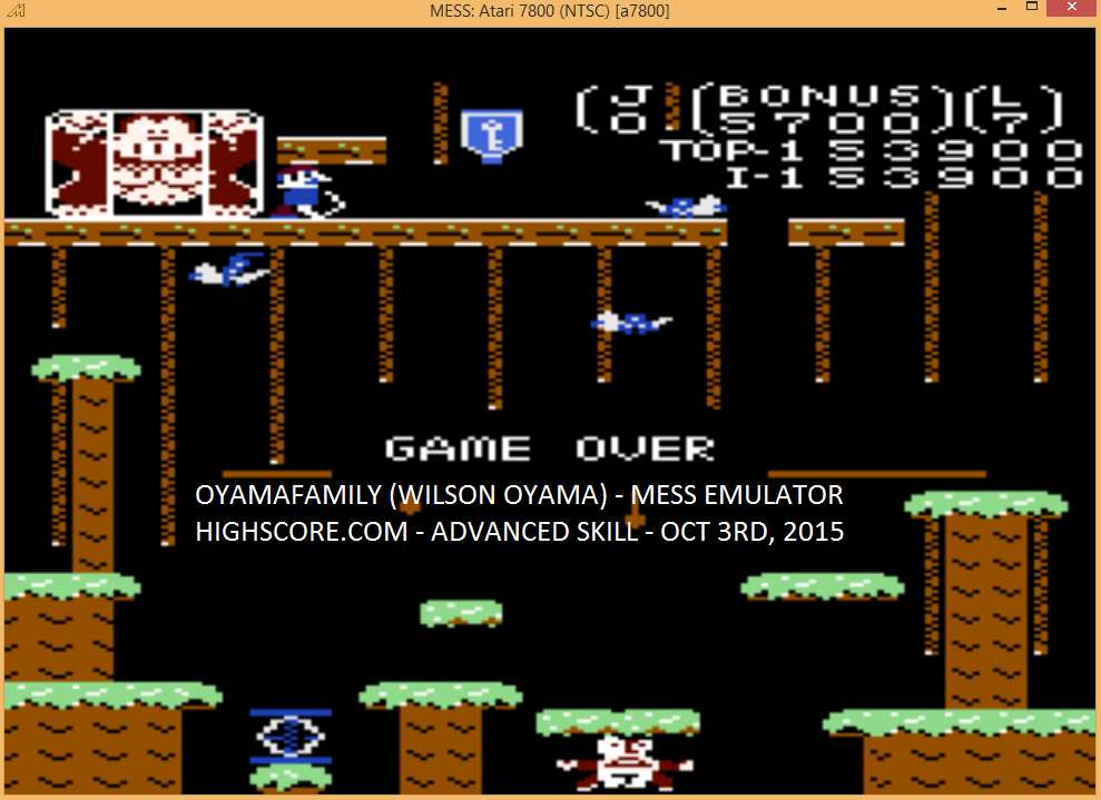 oyamafamily: Donkey Kong Jr: Advanced (Atari 7800 Emulated) 153,900 points on 2015-10-03 15:42:09