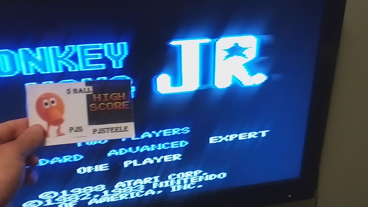 Pjsteele: Donkey Kong Jr: Expert (Atari 7800) 128,100 points on 2019-04-25 07:56:36