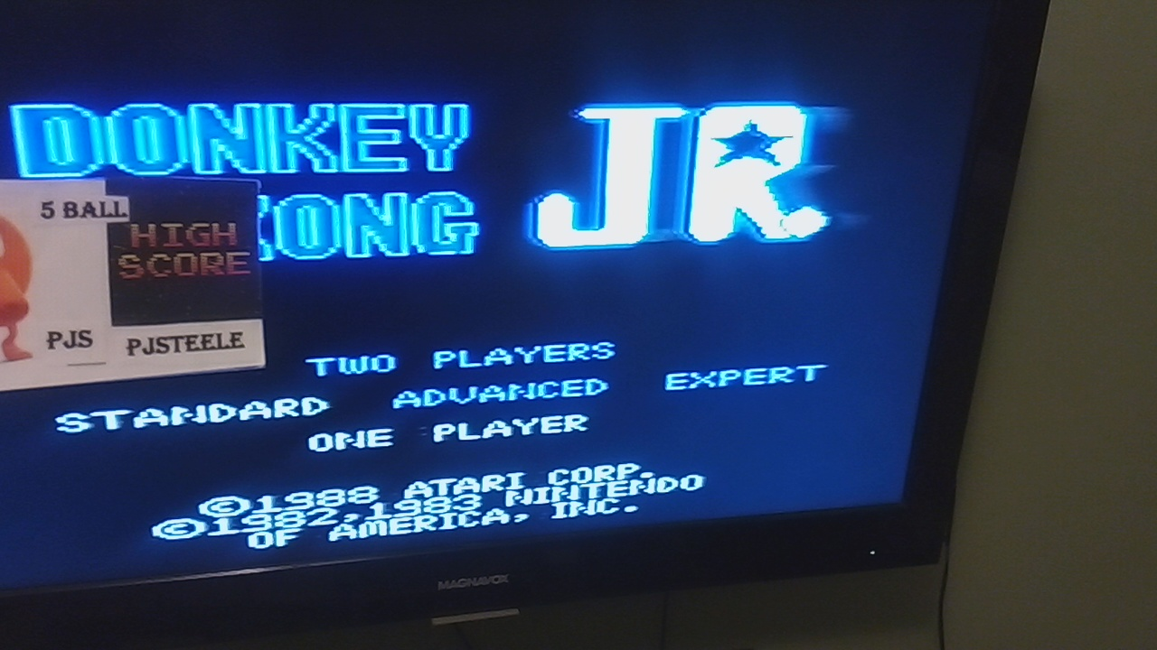 Pjsteele: Donkey Kong Jr: Standard (Atari 7800) 168,400 points on 2019-04-21 21:07:46