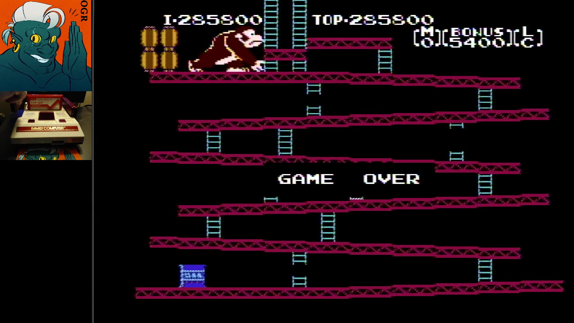 AwesomeOgre: Donkey Kong (NES/Famicom) 285,800 points on 2020-02-25 19:03:29