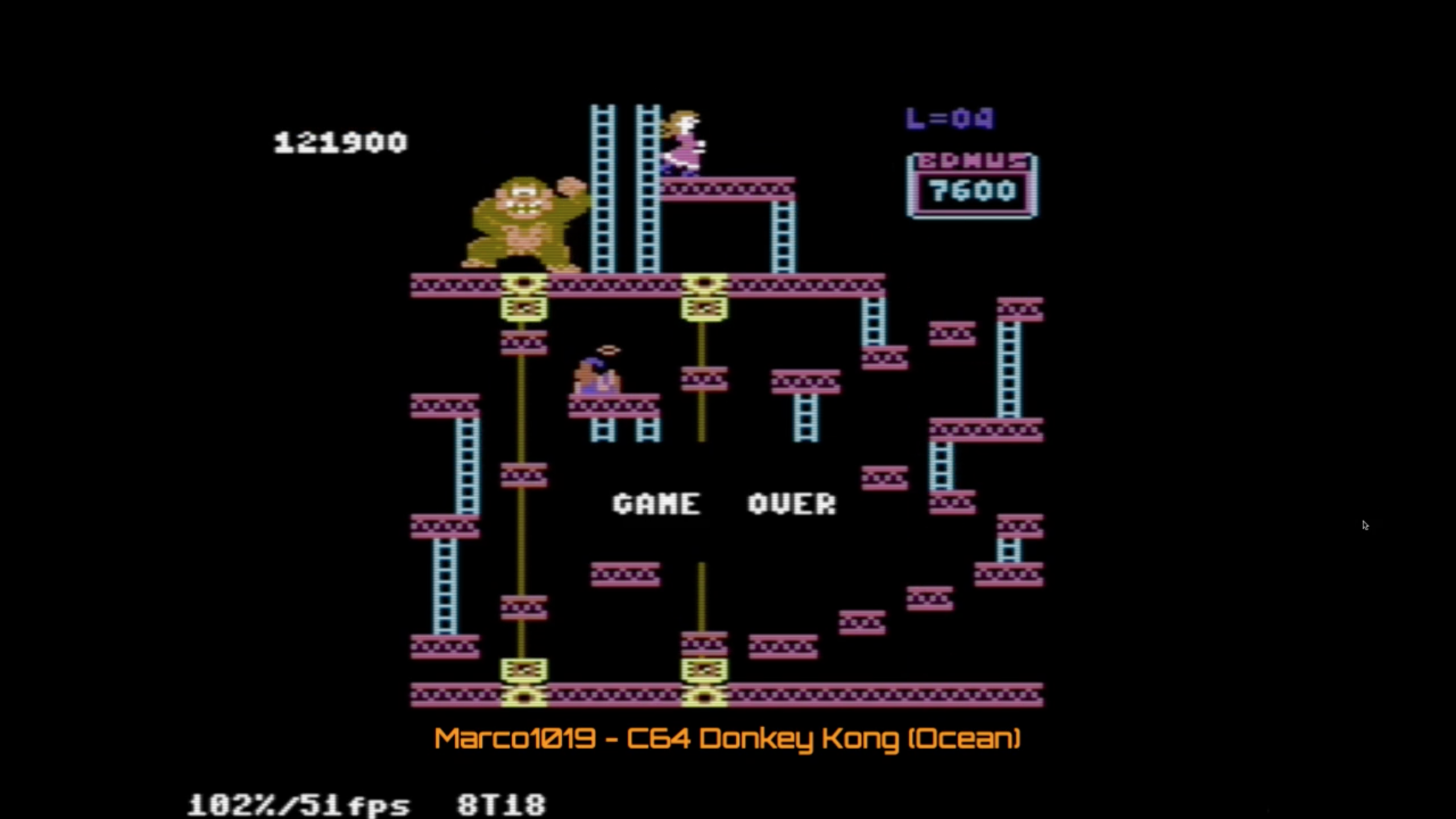 Marco1019: Donkey Kong: Ocean (Commodore 64 Emulated) 121,900 points on 2020-10-17 02:03:16