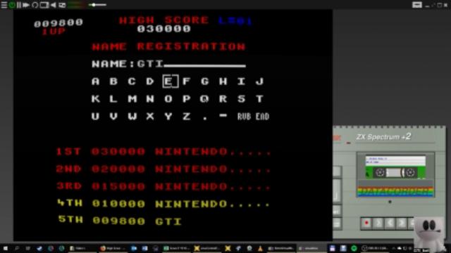 GTibel: Donkey Kong [Ocean Software] (ZX Spectrum Emulated) 9,800 points on 2019-01-07 00:55:25