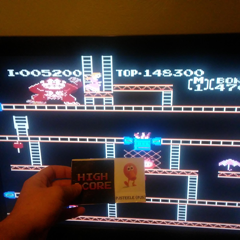 Pjsteele: Donkey Kong Original Edition [Game A] (NES/Famicom Emulated) 148,300 points on 2018-01-30 14:21:18