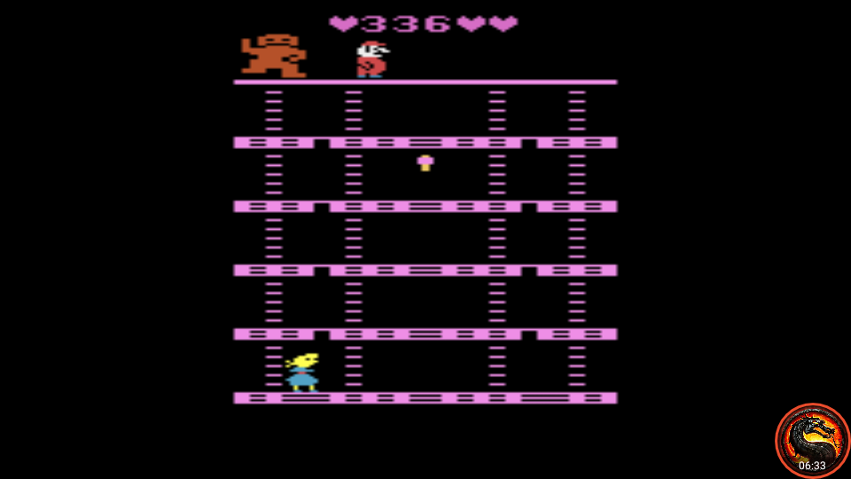 omargeddon: Donkey Kong: Pauline Edition (Atari 2600 Emulated Novice/B Mode) 336 points on 2020-07-22 14:07:21
