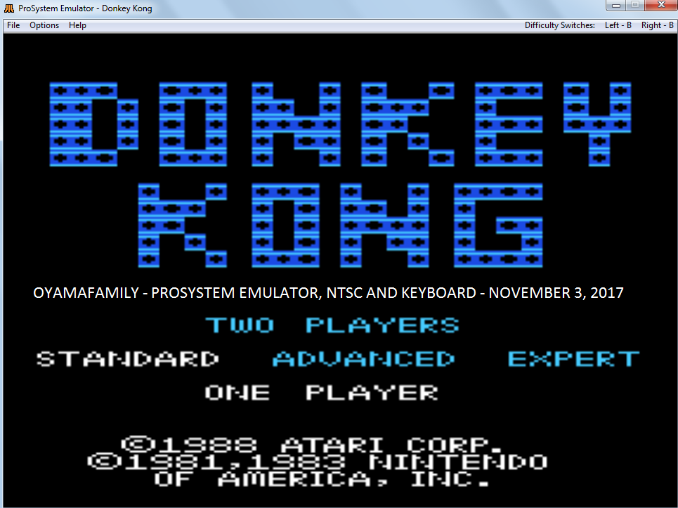 oyamafamily: Donkey Kong: Standard (Atari 7800 Emulated) 110,200 points on 2017-11-05 16:59:37