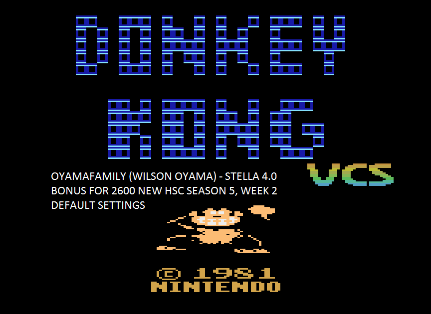 oyamafamily: Donkey Kong VCS (Atari 2600 Emulated) 20,000 points on 2016-01-30 03:44:47
