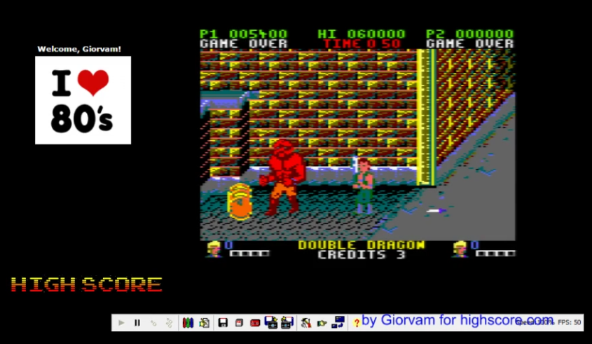 Giorvam: Double Dragon (Amstrad CPC Emulated) 5,400 points on 2016-11-20 04:52:46