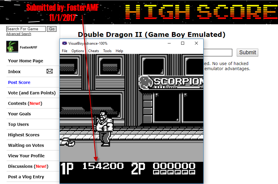 FosterAMF: Double Dragon II (Game Boy Emulated) 154,200 points on 2017-11-01 15:01:15