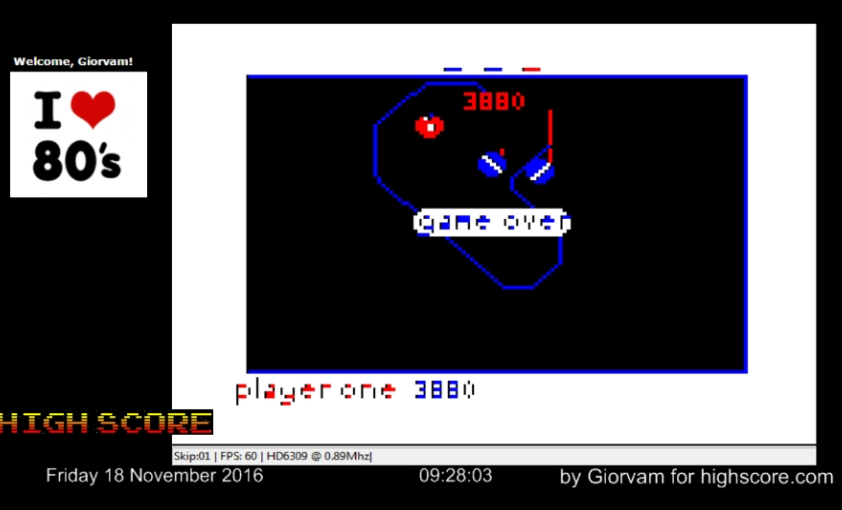 Giorvam: Doubleback (TRS-80 CoCo Emulated) 3,880 points on 2016-11-18 01:37:11