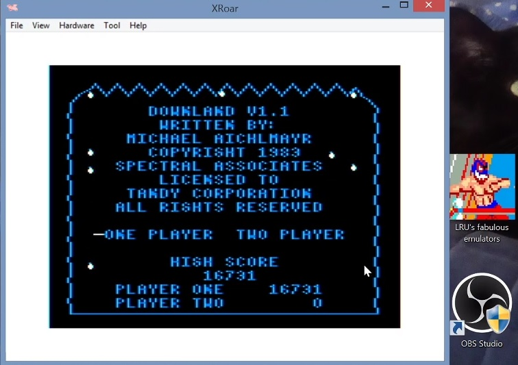 LuigiRuffolo: Downland (TRS-80 CoCo Emulated) 16,731 points on 2021-02-28 15:53:09