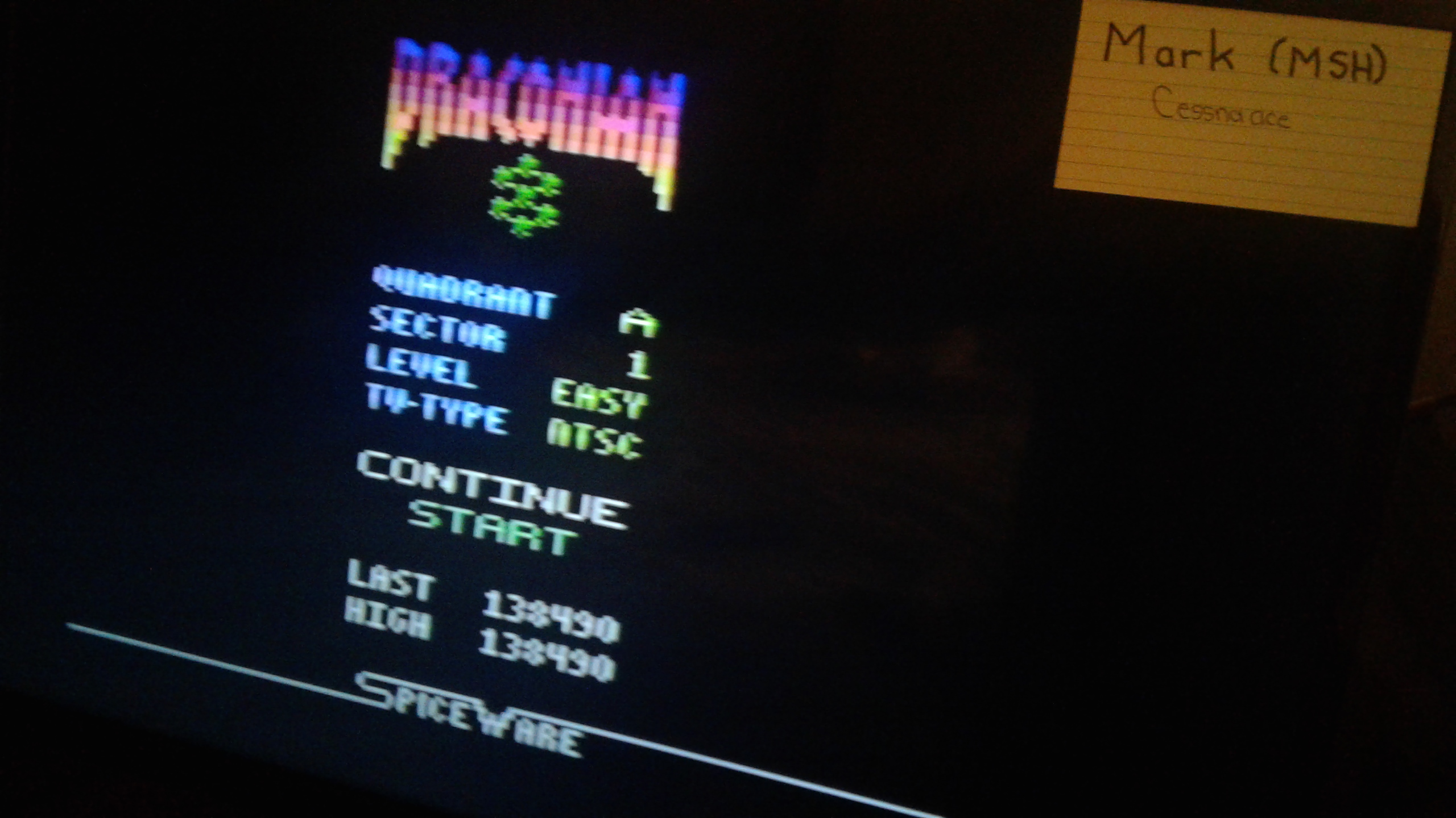 Mark: Draconian: Quadrant Alpha / Sector 1 [Easy] (Atari 2600) 138,490 points on 2019-05-09 23:24:23