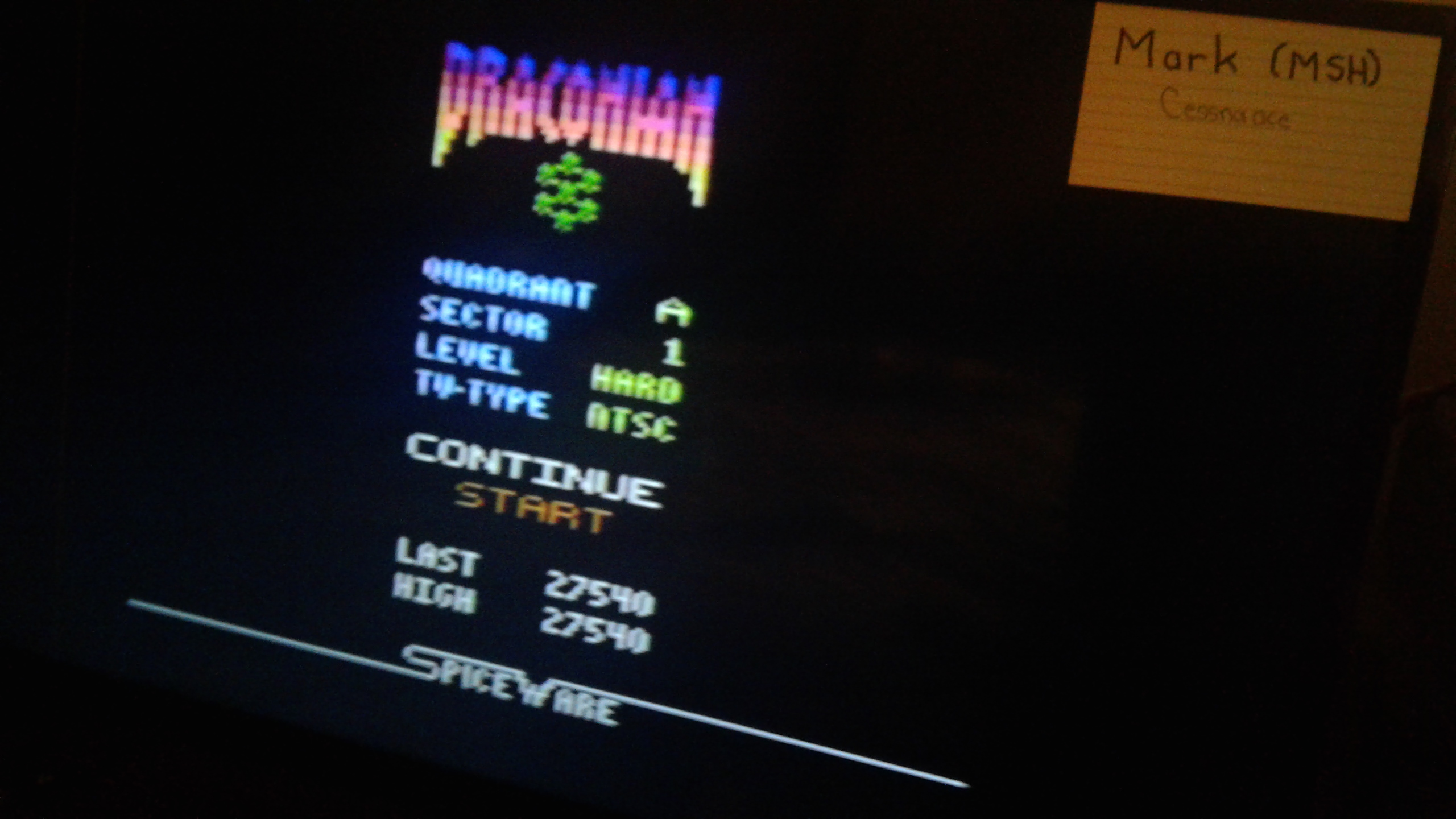 Mark: Draconian: Quadrant Alpha / Sector 1 [Hard] (Atari 2600) 27,540 points on 2019-05-09 23:35:22