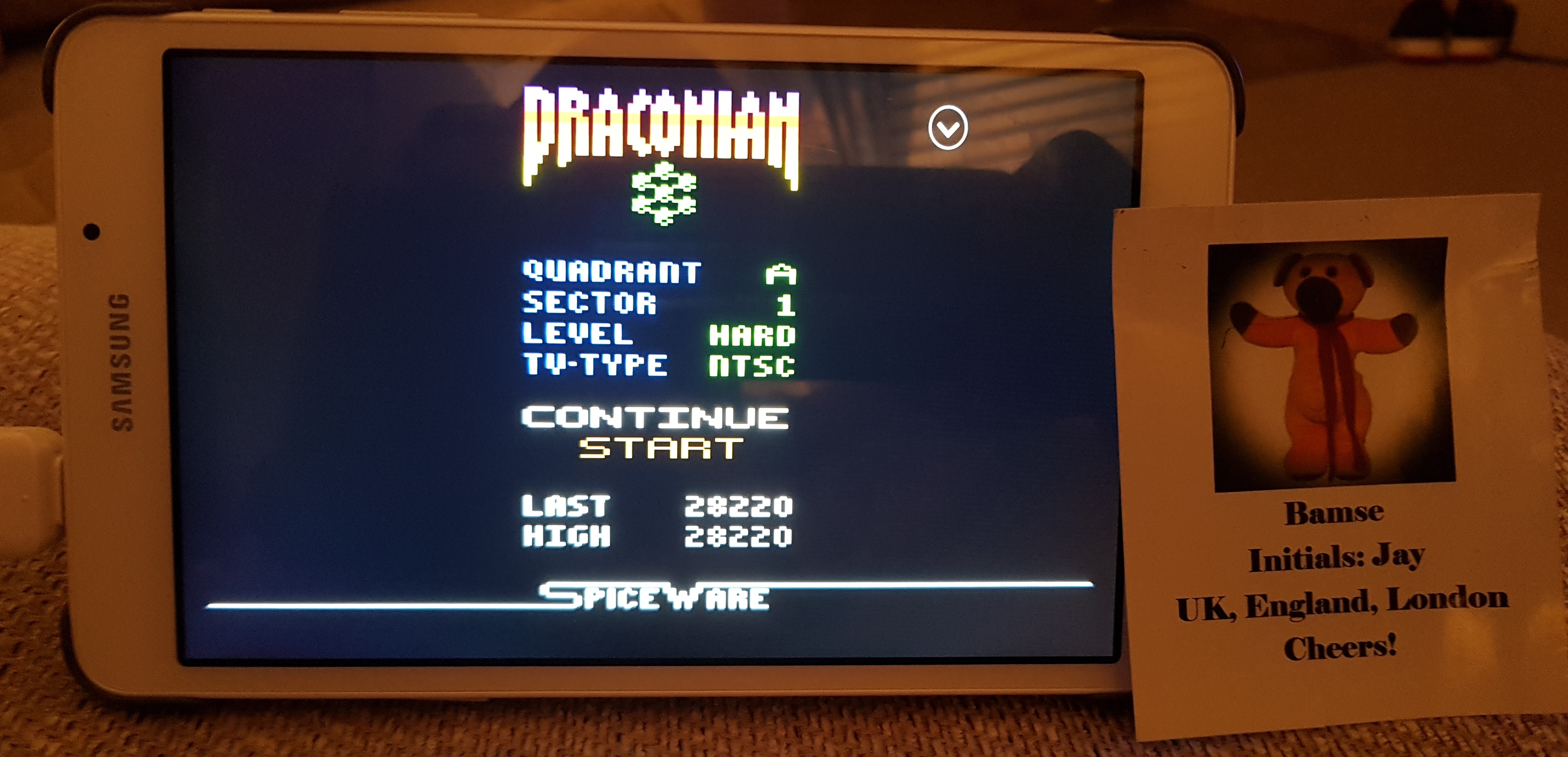 Bamse: Draconian: Quadrant Alpha / Sector 1 [Hard] (Atari 2600 Emulated) 28,220 points on 2019-07-01 18:12:11