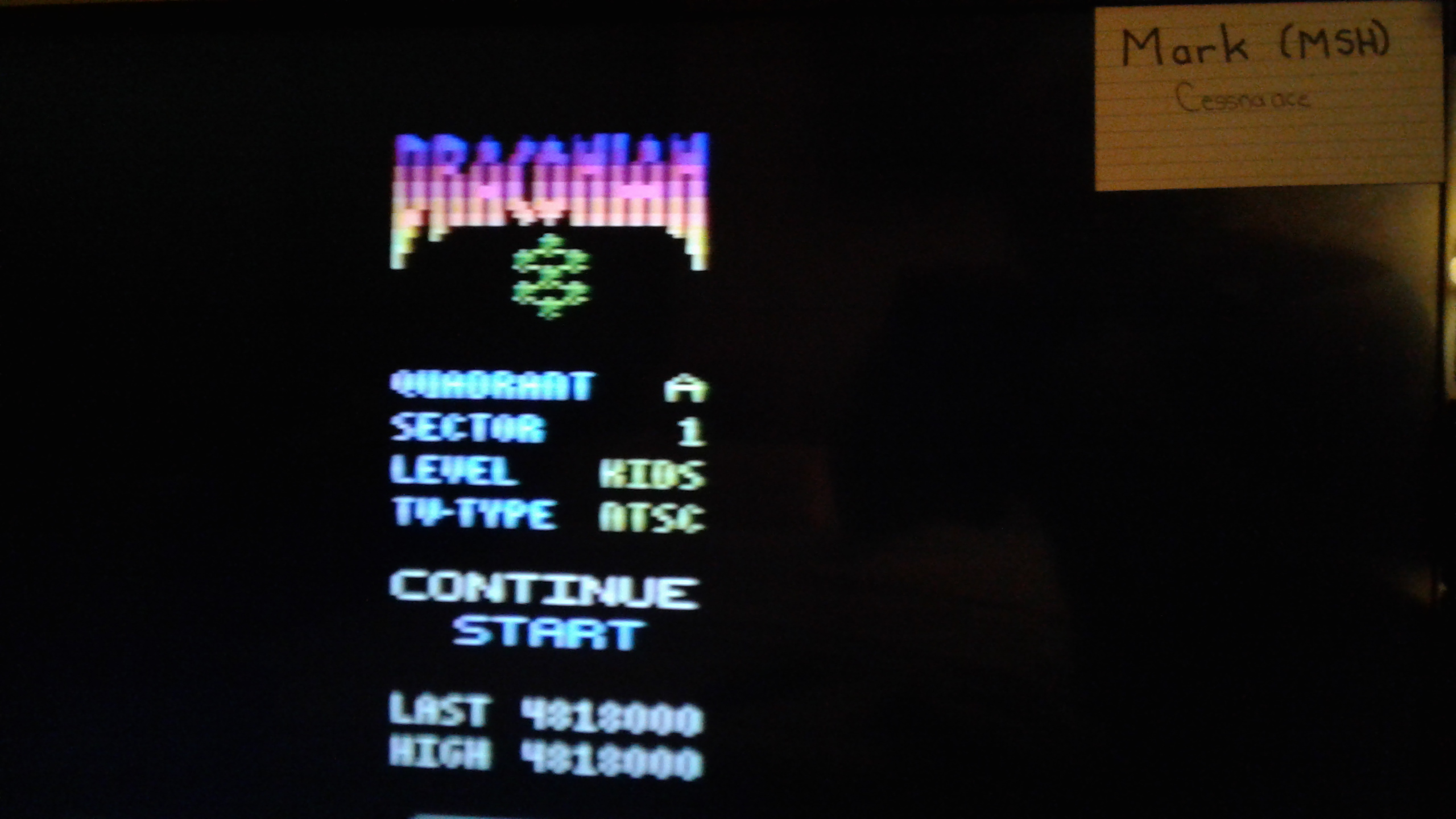 Mark: Draconian: Quadrant Alpha / Sector 1 [Kids] (Atari 2600) 4,818,000 points on 2019-06-18 23:10:22