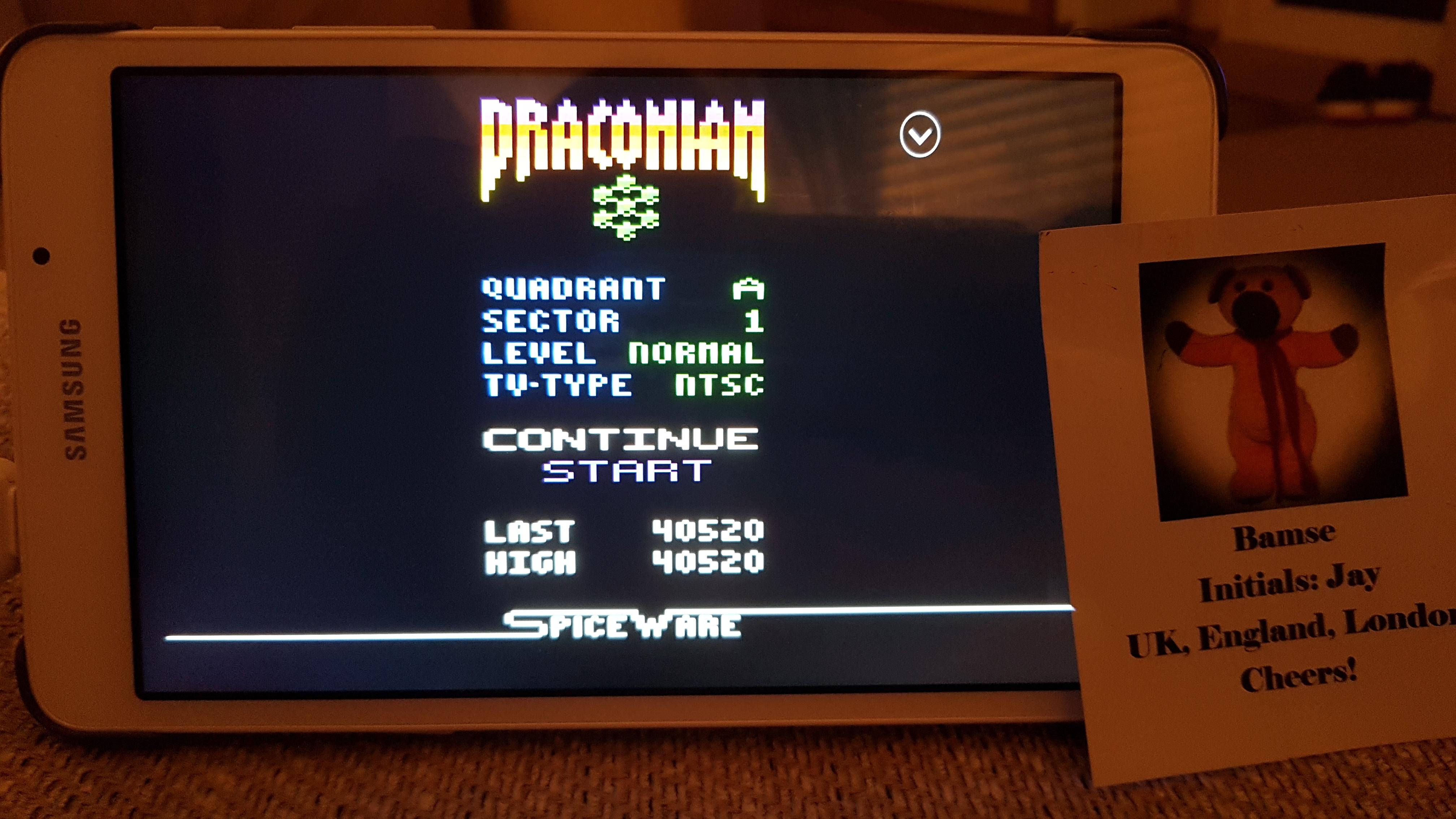 Bamse: Draconian: Quadrant Alpha / Sector 1 [Normal] (Atari 2600 Emulated) 40,520 points on 2019-07-01 18:10:29