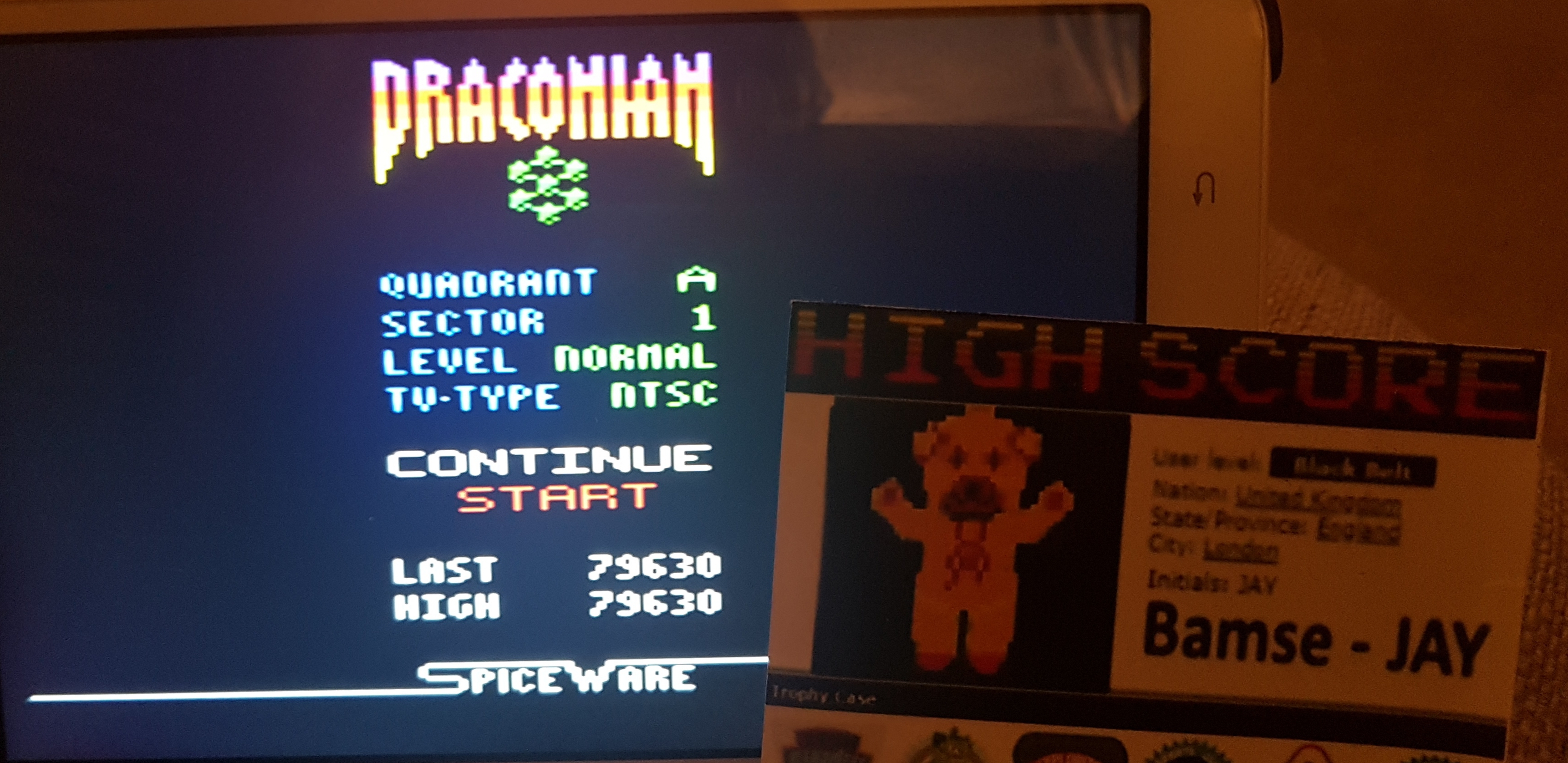 Bamse: Draconian: Quadrant Alpha / Sector 1 [Normal] (Atari 2600 Emulated) 79,630 points on 2019-10-12 13:20:24