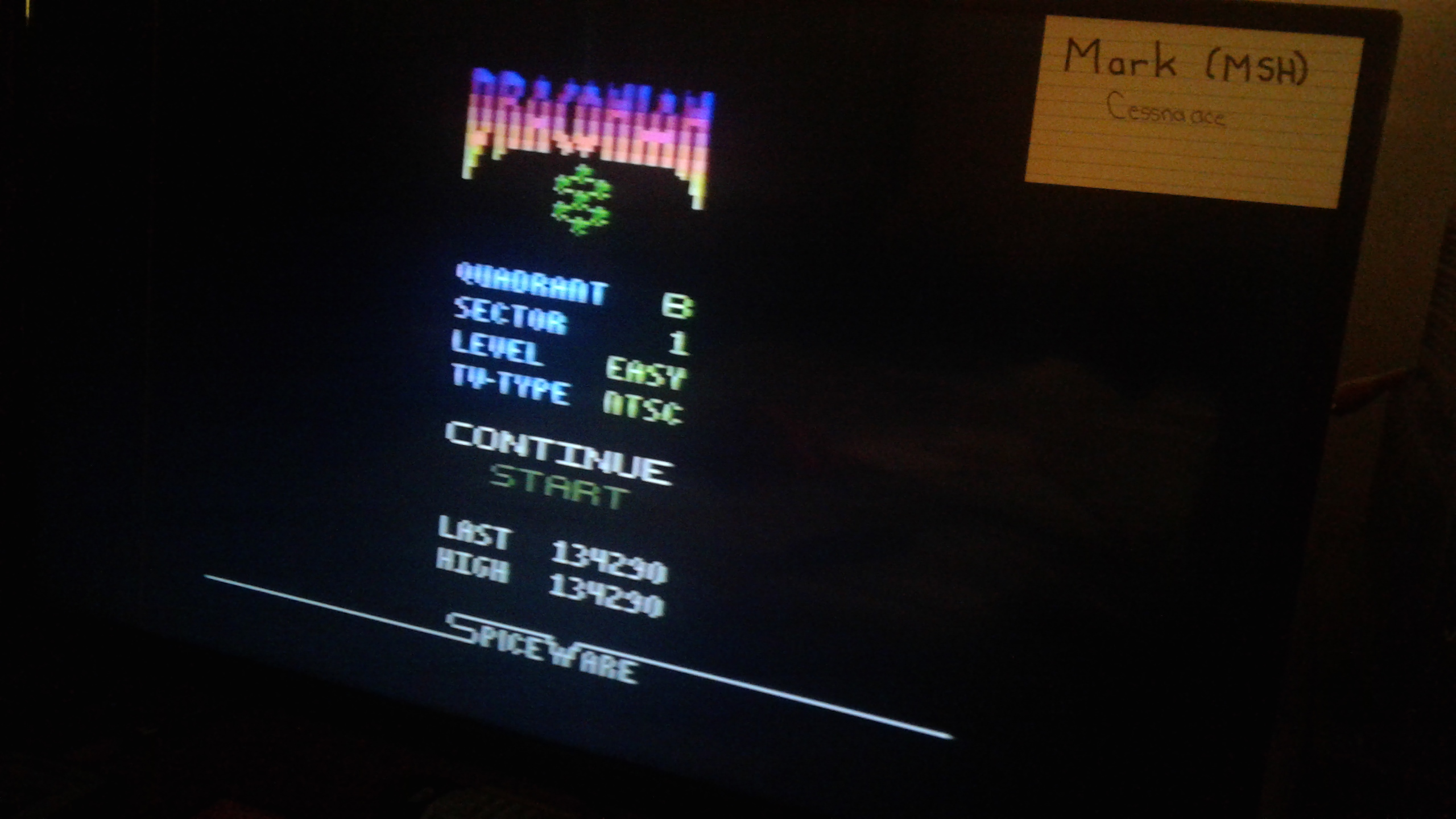 Mark: Draconian: Quadrant Beta / Sector 1 [Easy] (Atari 2600) 134,290 points on 2019-05-09 23:51:01