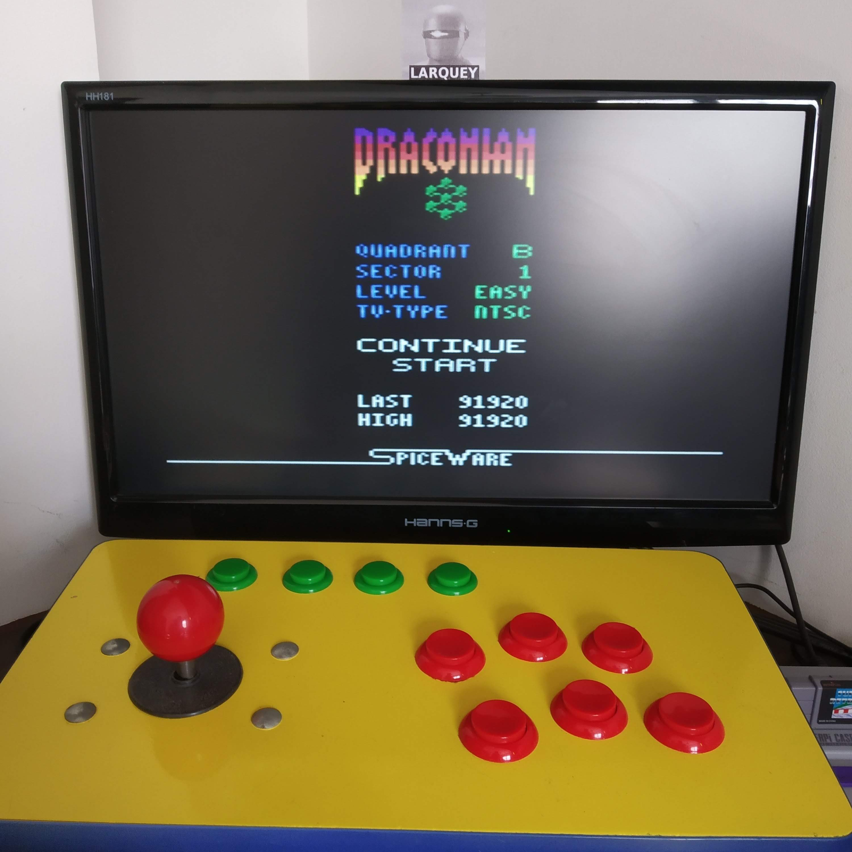 Larquey: Draconian: Quadrant Beta / Sector 1 [Easy] (Atari 2600 Emulated) 91,920 points on 2020-08-15 11:22:21