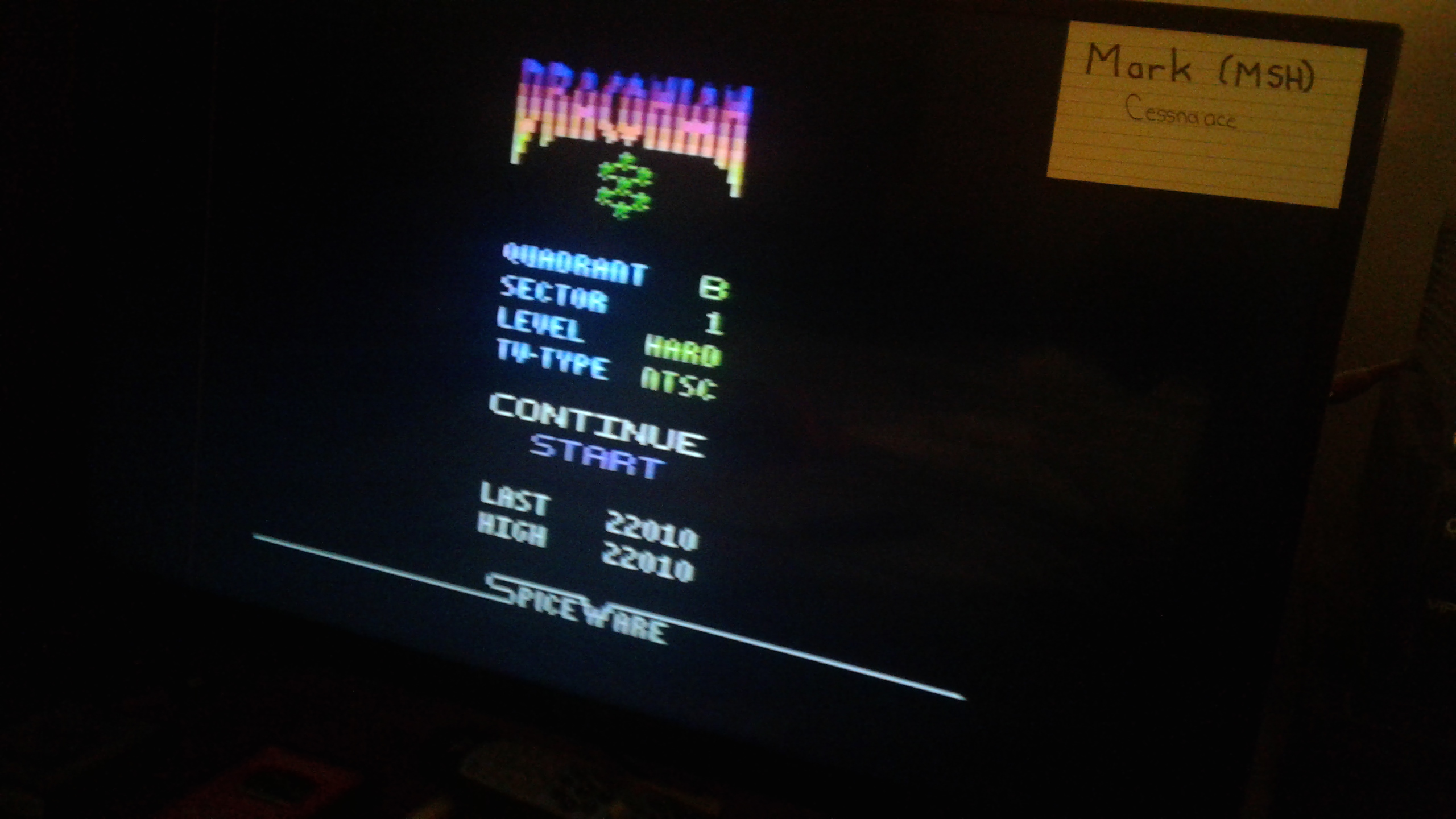 Mark: Draconian: Quadrant Beta / Sector 1 [Hard] (Atari 2600) 22,010 points on 2019-05-10 00:15:14