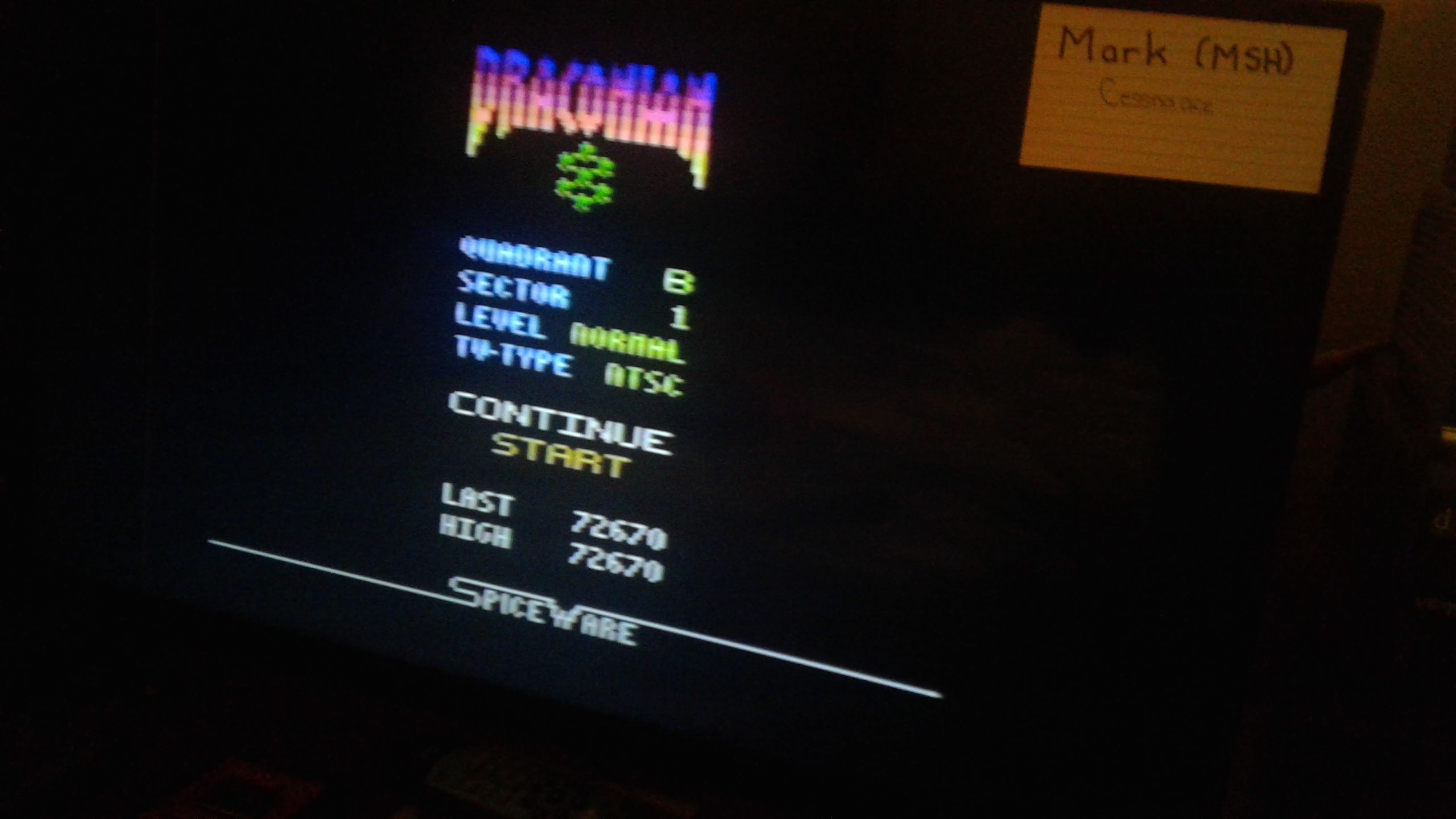 Mark: Draconian: Quadrant Beta / Sector 1 [Normal] (Atari 2600) 72,670 points on 2019-05-10 00:04:51