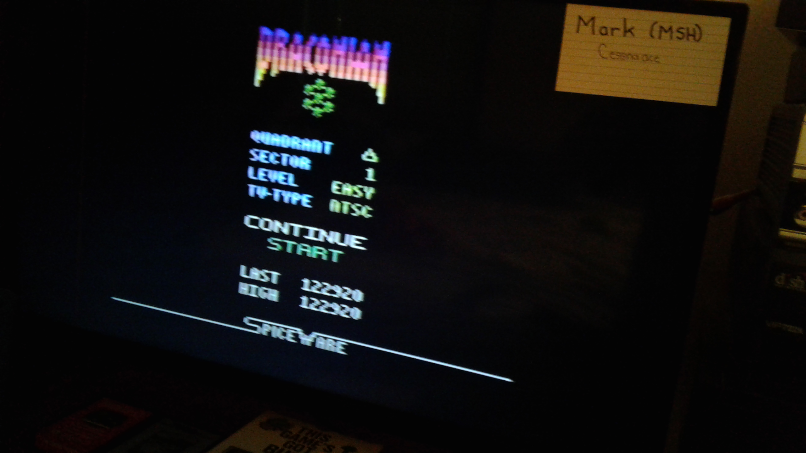Mark: Draconian: Quadrant Delta / Sector 1 [Easy] (Atari 2600) 122,920 points on 2019-05-10 23:35:53