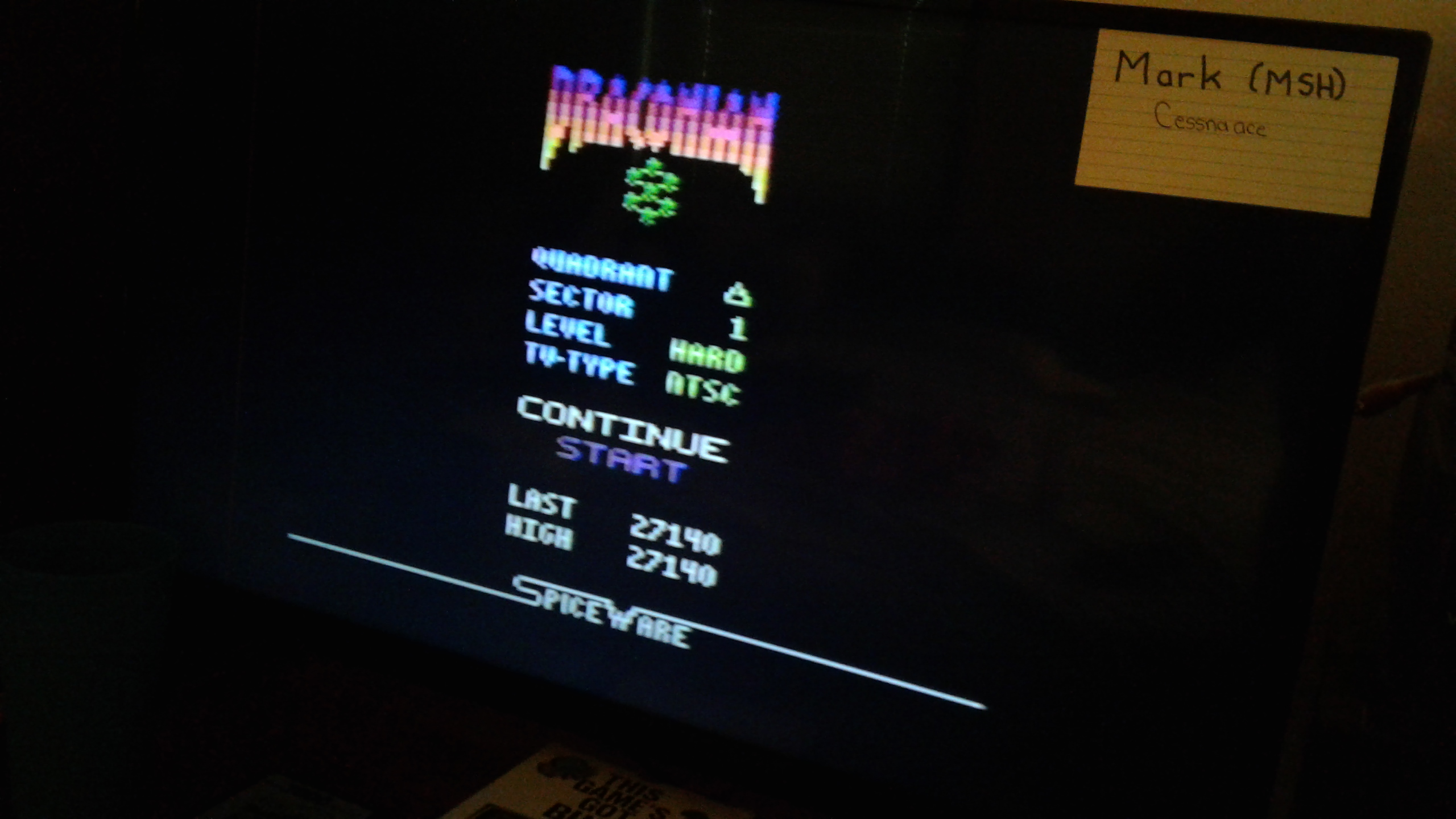 Mark: Draconian: Quadrant Delta / Sector 1 [Hard] (Atari 2600) 27,140 points on 2019-05-11 23:41:35